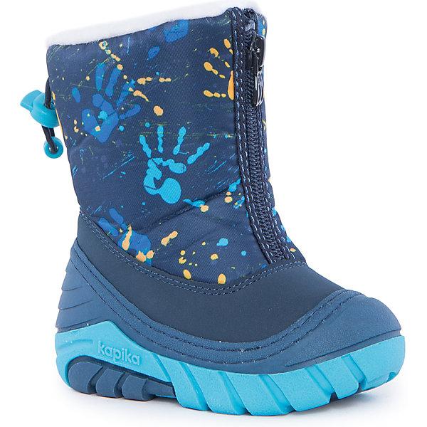 Сноубутсы для мальчика KapikaСноубутсы<br>Полусапоги для мальчика KAPIKA.<br><br>Температурный режим: до -20 градусов. Степень утепления – средняя. <br><br>* Температурный режим указан приблизительно — необходимо, прежде всего, ориентироваться на ощущения ребенка. <br><br>Сапоги-дутики защитят ноги малыша от снега и дождя. Благодаря теплому меху внутри их можно носить даже в очень холодную погоду. Подошва сделана с противоскользящим эффектом. Сапоги имеют форму цельного валенка, вклеенного в сапоги-галоши. Это дает дополнительную защиту от влаги и холода. Застегиваются на молнию спереди.<br><br>Дополнительная информация:<br><br>- материал верха: искусственная кожа, текстиль<br>- материал подкладки: 80% шерсть, 20% искусственный мех<br><br>Полусапоги для мальчика KAPIKA можно купить в нашем интернет магазине.<br>Ширина мм: 257; Глубина мм: 180; Высота мм: 130; Вес г: 420; Цвет: синий; Возраст от месяцев: 9; Возраст до месяцев: 12; Пол: Мужской; Возраст: Детский; Размер: 19,24,23,22,21,20; SKU: 4988198;
