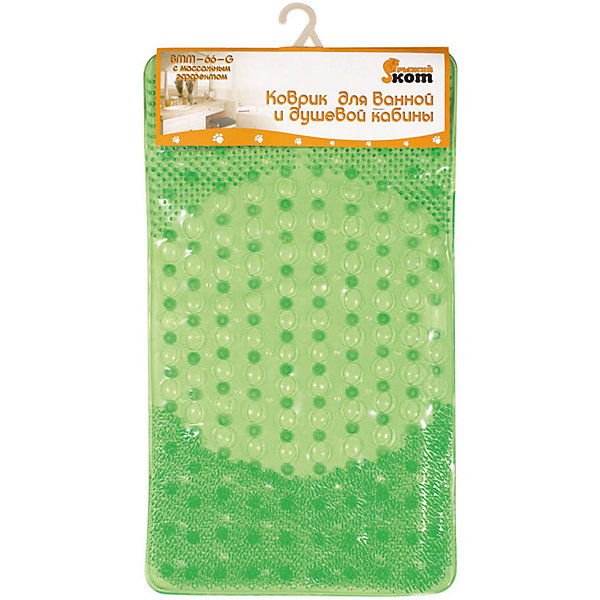 Коврик для ванной  BMM-66-G с массажным эффектом, 66*39 см, Рыжий Кот, зеленыйТовары для купания<br>Коврик-массажер не только предотвращает скольжение, но и массажирует ступни купающегося. Коврик прямоугольной формы, предназначен для ванной или душевой кабины. <br><br>Дополнительная информация:<br><br>Размер коврика: 66х39 см<br>Тип крепления: на присосках<br>Материал: ПВХ 100%<br><br>Коврик для ванной  BMM-66-G с массажным эффектом, 66*39 см, Рыжий Кот, зеленый можно купить в нашем интернет-магазине.<br><br>Ширина мм: 660<br>Глубина мм: 390<br>Высота мм: 5<br>Вес г: 726<br>Возраст от месяцев: 6<br>Возраст до месяцев: 1080<br>Пол: Унисекс<br>Возраст: Детский<br>SKU: 4989804