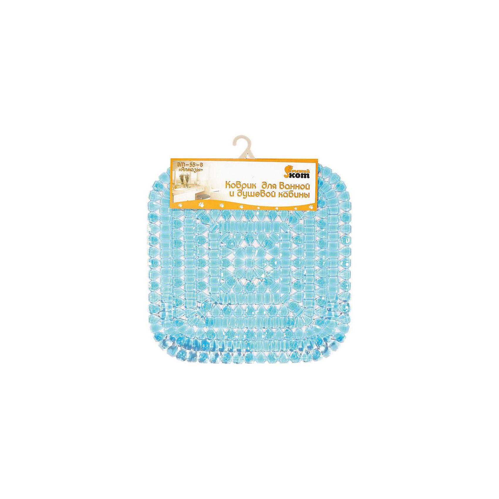 Коврик для ванной  BM-55-B «Алмазы» квадратный, 50*50 см, Рыжий Кот, голубойВанная комната<br>Мягкий коврик для купания стелется на дно душевой кабины или ванны, присоски крепко прилипают ко дну. Ребристая поверхность коврика не позволяет ноге скользить по мокрой поверхности ванны. Коврик декорирован алмазным рисуноком. <br><br>Дополнительная информация:<br><br>Размер коврика: 50х50 см<br>Тип крепления: на присосках<br>Материал: ПВХ 100%<br><br>Коврик для ванной  BM-55-B «Алмазы» квадратный, 50*50 см, Рыжий Кот, голубой можно купить в нашем интернет-магазине.<br><br>Ширина мм: 494<br>Глубина мм: 492<br>Высота мм: 7<br>Вес г: 708<br>Возраст от месяцев: 6<br>Возраст до месяцев: 1080<br>Пол: Унисекс<br>Возраст: Детский<br>SKU: 4989807