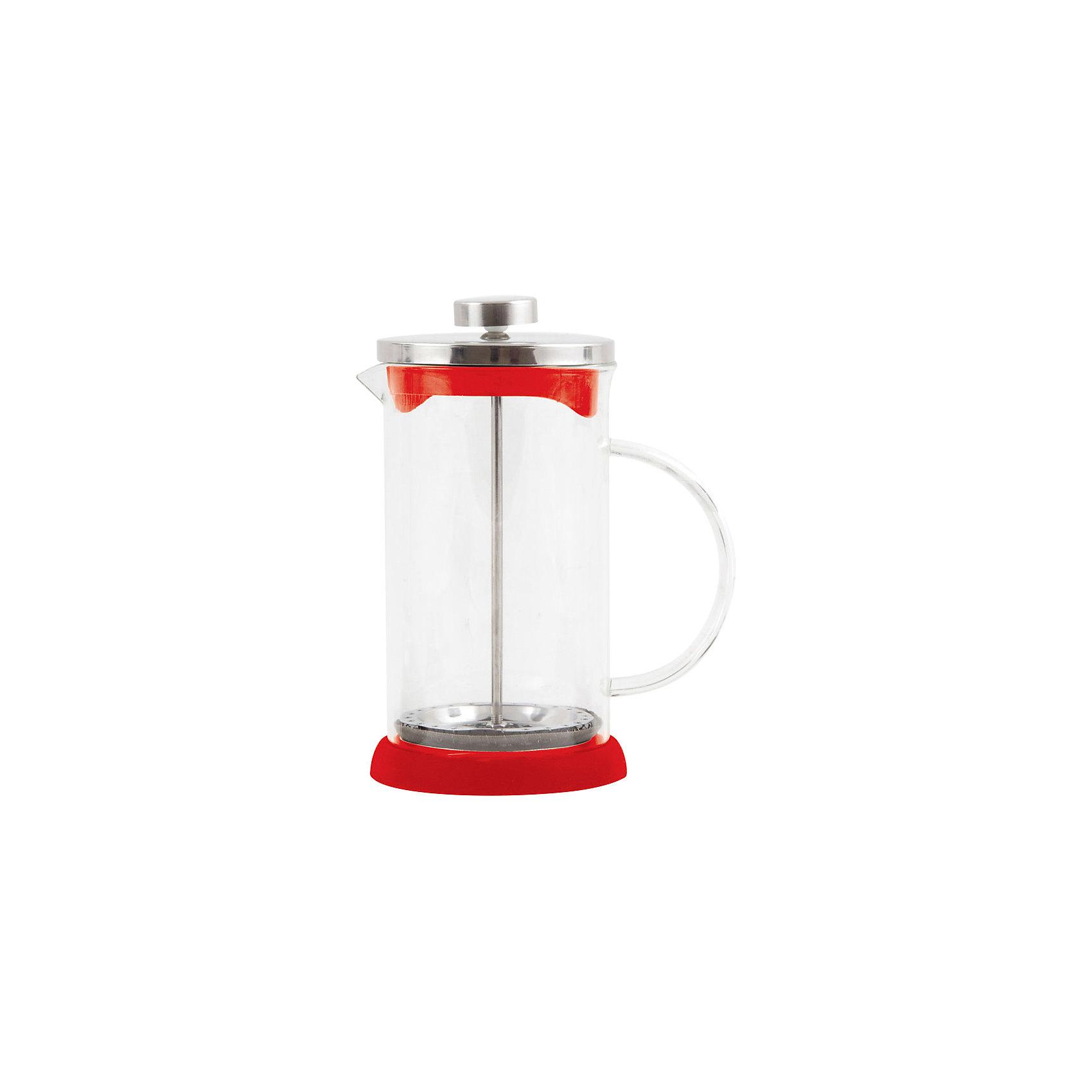 Кофе-пресс стеклянный GFP01-600ML-R, Mallony, красныйБытовая техника для кухни<br>Заварить чай или подать кофе – кофе-пресс Mallony поможет в этом. Прозрачная стеклянная колба дает возможность увидеть насыщенный цвет чая, рассмотреть, как раскрываются чайные листья, набухают и отдают свой цвет, наполняя кухню ароматом свежеприготовленного напитка. После того, как чай настоится, специальный пресс опускается, листья плотно прижимаются ко дну чайника, чаинки не попадают в чашку.<br><br>Дополнительная информация:<br><br>Высота чайника: 19,3 см<br>Объем: 600 мл<br><br>Материал: стекло, нержавеющая сталь, силикон, пластик.<br><br>Упаковка: цветная индивидуальная коробка.<br><br>Кофе-пресс стеклянный GFP01-600ML-R, Mallony, красный можно купить в нашем интернет-магазине.<br><br>Ширина мм: 148<br>Глубина мм: 98<br>Высота мм: 186<br>Вес г: 462<br>Возраст от месяцев: 216<br>Возраст до месяцев: 1080<br>Пол: Унисекс<br>Возраст: Детский<br>SKU: 4989860