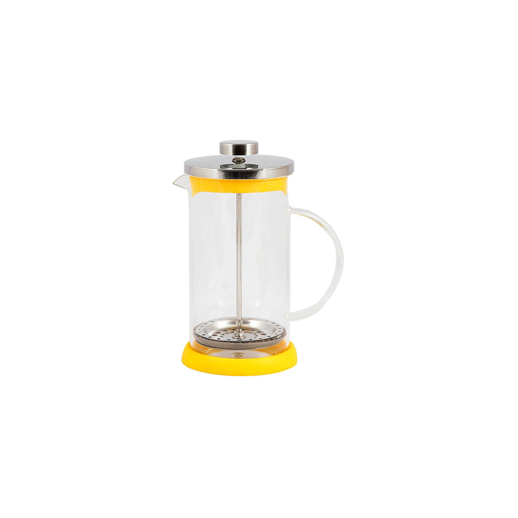 Кофе-пресс стеклянный GFP01-600ML-Y, Mallony, жёлтыйБытовая техника для кухни<br>Заварить чай или подать кофе – кофе-пресс Mallony поможет в этом. Прозрачная стеклянная колба дает возможность увидеть насыщенный цвет чая, рассмотреть, как раскрываются чайные листья, набухают и отдают свой цвет, наполняя кухню ароматом свежеприготовленного напитка. После того, как чай настоится, специальный пресс опускается, листья плотно прижимаются ко дну чайника, чаинки не попадают в чашку.<br><br>Дополнительная информация:<br><br>Высота чайника: 19,3 см<br>Объем: 600 мл<br><br>Материал: стекло, нержавеющая сталь, силикон, пластик.<br><br>Упаковка: цветная индивидуальная коробка.<br><br>Кофе-пресс стеклянный GFP01-600ML-Y, Mallony, жёлтый можно купить в нашем интернет-магазине.<br><br>Ширина мм: 145<br>Глубина мм: 100<br>Высота мм: 186<br>Вес г: 463<br>Возраст от месяцев: 216<br>Возраст до месяцев: 1080<br>Пол: Унисекс<br>Возраст: Детский<br>SKU: 4989861