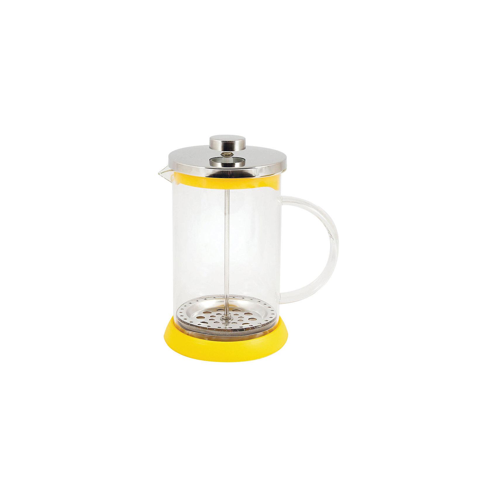 Кофе-пресс стеклянный GFP01-800ML-Y, Mallony, жёлтыйБытовая техника для кухни<br>Заварить чай или подать кофе – кофе-пресс Mallony поможет в этом. Прозрачная стеклянная колба дает возможность увидеть насыщенный цвет чая, рассмотреть, как раскрываются чайные листья, набухают и отдают свой цвет, наполняя кухню ароматом свежеприготовленного напитка. После того, как чай настоится, специальный пресс опускается, листья плотно прижимаются ко дну чайника, чаинки не попадают в чашку.<br><br>Дополнительная информация:<br><br>Высота чайника: 19,8 см<br>Объем: 800 мл<br><br>Материал: стекло, нержавеющая сталь, силикон, пластик.<br><br>Упаковка: цветная индивидуальная коробка.<br><br>Кофе-пресс стеклянный GFP01-800ML-Y, Mallony, жёлтый можно купить в нашем интернет-магазине.<br><br>Ширина мм: 156<br>Глубина мм: 115<br>Высота мм: 188<br>Вес г: 553<br>Возраст от месяцев: 216<br>Возраст до месяцев: 1080<br>Пол: Унисекс<br>Возраст: Детский<br>SKU: 4989862