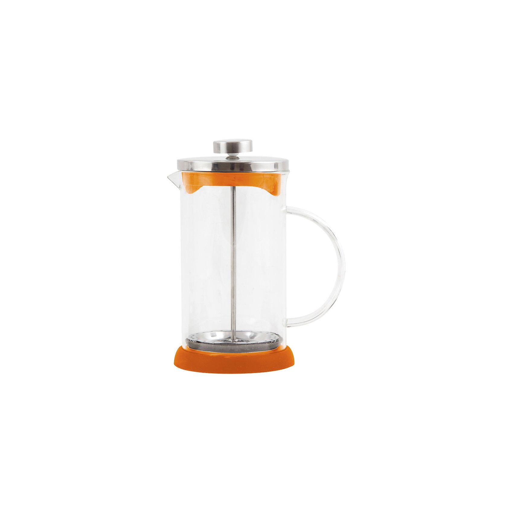 Кофе-пресс стеклянный GFP01-1000ML-O, Mallony, оранжевыйБытовая техника для кухни<br>Заварить чай или подать кофе – кофе-пресс Mallony поможет в этом. Прозрачная стеклянная колба дает возможность увидеть насыщенный цвет чая, рассмотреть, как раскрываются чайные листья, набухают и отдают свой цвет, наполняя кухню ароматом свежеприготовленного напитка. После того, как чай настоится, специальный пресс опускается, листья плотно прижимаются ко дну чайника, чаинки не попадают в чашку.<br><br>Дополнительная информация:<br><br>Высота чайника: 22 см<br>Объем: 1 л<br><br>Материал: стекло, нержавеющая сталь, силикон, пластик.<br><br>Упаковка: цветная индивидуальная коробка.<br><br>Кофе-пресс стеклянный GFP01-1000ML-O, Mallony, оранжевый можно купить в нашем интернет-магазине.<br><br>Ширина мм: 155<br>Глубина мм: 114<br>Высота мм: 209<br>Вес г: 596<br>Возраст от месяцев: 216<br>Возраст до месяцев: 1080<br>Пол: Унисекс<br>Возраст: Детский<br>SKU: 4989864