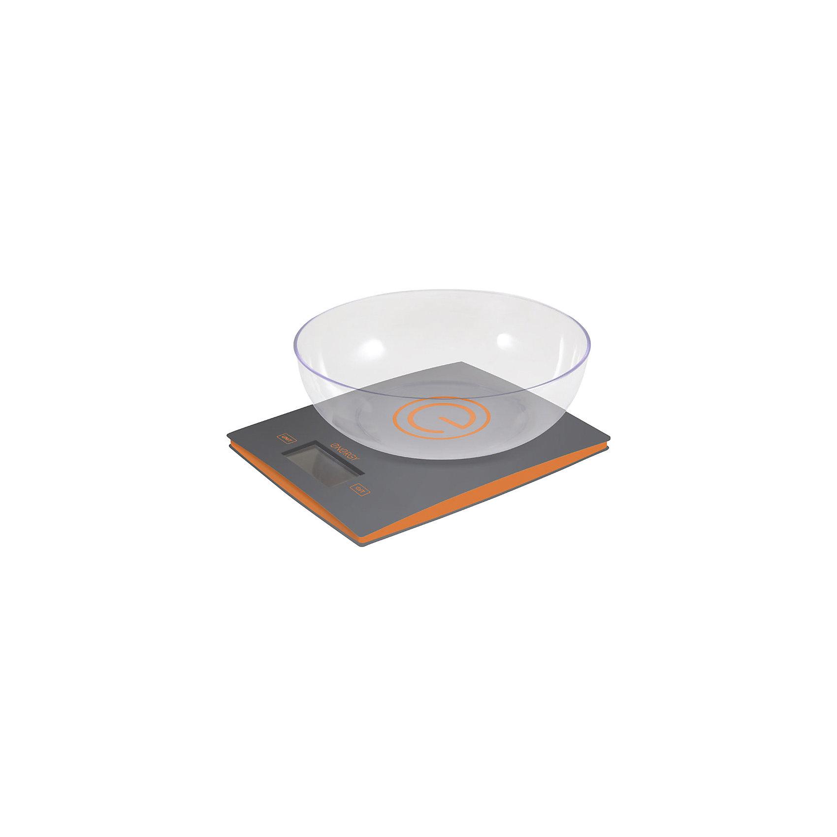 Весы кухонные электронные EN-424, Energy, серыйБытовая техника для кухни<br>Кухонные весы с чашей пригодятся для измерения веса продуктов и определения точной пропорции. Электронные весы оснащены индикатором перегрузки и заряда батареи, системой автоотключения, есть функция «тара». LCD дисплей (белые цифры на черном фоне). Предусмотрена возможность выбора единицы измерения: грамм/фунт/унция/кг.<br><br>Дополнительная информация:<br><br>Размеры весов: 20х16х2 см<br>Размер дисплея: 5,8х2,7 см<br><br>Цена деления: 1 г<br>Объем чаши: 2 л<br>Максимальная нагрузка: 5 кг<br><br>Тип управления: сенсорное управление<br><br>Батарейки входят в комплект: 2 шт. типа ААА<br><br>Весы кухонные электронные EN-424, Energy, цв.серый можно купить в нашем интернет-магазине.<br><br>Ширина мм: 210<br>Глубина мм: 200<br>Высота мм: 90<br>Вес г: 538<br>Возраст от месяцев: 6<br>Возраст до месяцев: 1080<br>Пол: Унисекс<br>Возраст: Детский<br>SKU: 4989870