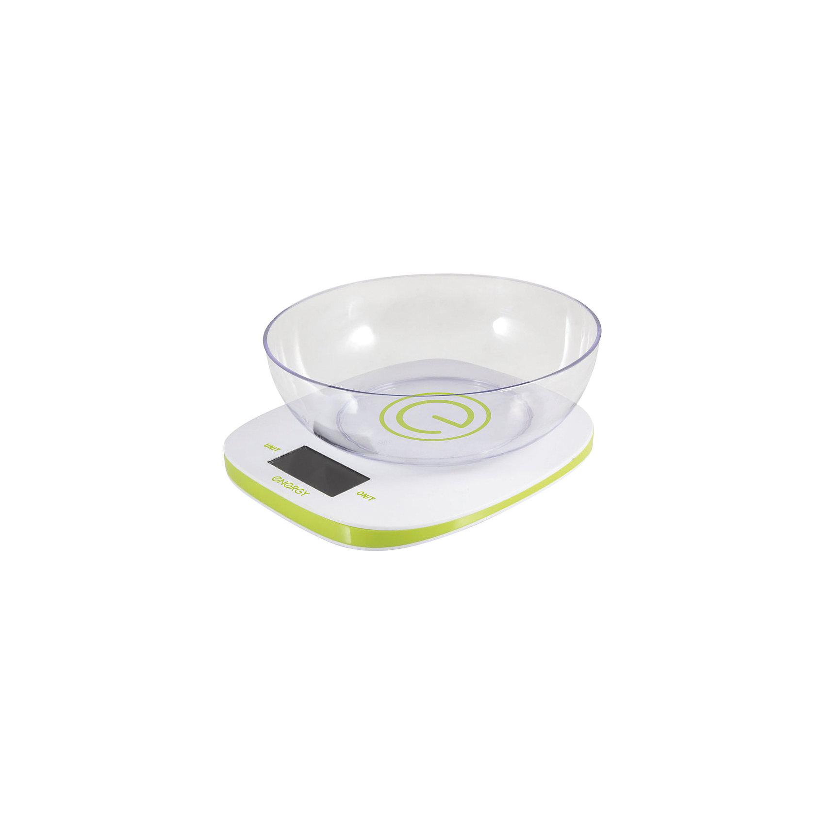 Весы кухонные электронные EN-425, EnergyБытовая техника для кухни<br>Кухонные весы с чашей пригодятся для измерения веса продуктов и определения точной пропорции. Электронные весы оснащены индикатором перегрузки и заряда батареи, системой автоотключения, есть функция «тара». LCD дисплей (белые цифры на черном фоне). Предусмотрена возможность выбора единицы измерения: грамм/фунт/унция/кг.<br><br>Дополнительная информация:<br><br>Размеры весов: 19,5х18х2 см<br>Размер дисплея: 5,8х2,7 см<br><br>Цена деления: 1 г<br>Объем чаши: 1 л<br>Максимальная нагрузка: 5 кг<br><br>Тип управления: сенсорное управление<br><br>Батарейки входят в комплект: 2 шт. типа ААА<br><br>Весы кухонные электронные EN-425, Energy можно купить в нашем интернет-магазине.<br><br>Ширина мм: 200<br>Глубина мм: 210<br>Высота мм: 90<br>Вес г: 508<br>Возраст от месяцев: 6<br>Возраст до месяцев: 1080<br>Пол: Унисекс<br>Возраст: Детский<br>SKU: 4989871