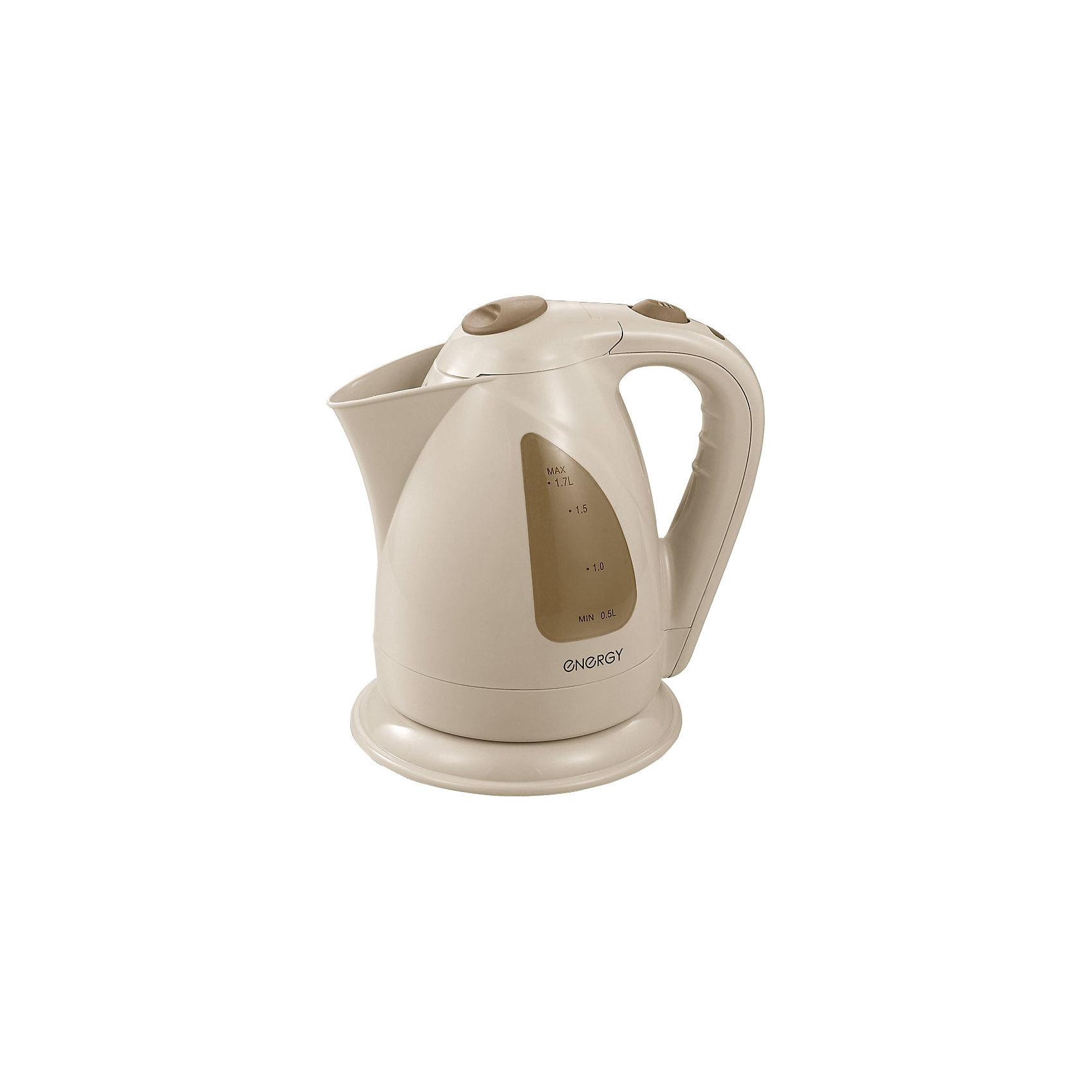 Чайник E-203 (1,7 л, диск), Energy, песочныйБытовая техника для кухни<br>Электрический чайник Energy дает возможность быстро вскипятить воду. Чайник оборудован специальным нагревательным элементом, который закрыт и безопасен. Световой индикатор работы показывает, когда чайник включен. Фильтр чайника можно снять и почистить. Предусмотрена защита во время работы без воды. Шнур прячется в выемку на дне подставки. Чайник на подставке можно поворачивать на 360о. Шкала уровня воды находится на внешней стороне чайника, нанесена на прозрачное пластиковое окошко.<br><br>Дополнительная информация:<br><br>Размер чайника: 22,5х22х17,5 см<br>Объем чайника: 1,7 л<br><br>Материал: пластик, металл, кабель<br><br>Мощность: 1850-2200Вт<br>Напряжение: 220-240В, 50/60Гц<br> <br>Чайник E-203 (1,7 л, диск), Energy, песочный можно купить в нашем интернет-магазине.<br><br>Ширина мм: 220<br>Глубина мм: 170<br>Высота мм: 230<br>Вес г: 1094<br>Возраст от месяцев: 216<br>Возраст до месяцев: 1080<br>Пол: Унисекс<br>Возраст: Детский<br>SKU: 4989882