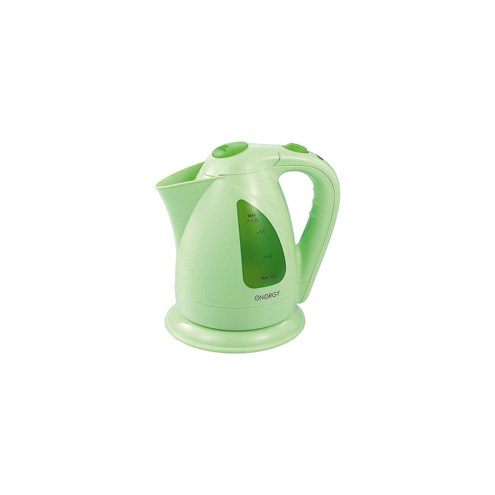 Чайник E-203 (1,7 л, диск), Energy,  св-зеленыйБытовая техника для кухни<br>Электрический чайник Energy дает возможность быстро вскипятить воду. Чайник оборудован специальным нагревательным элементом, который закрыт и безопасен. Световой индикатор работы показывает, когда чайник включен. Фильтр чайника можно снять и почистить. Предусмотрена защита во время работы без воды. Шнур прячется в выемку на дне подставки. Чайник на подставке можно поворачивать на 360 градусов. Шкала уровня воды находится на внешней стороне чайника, нанесена на прозрачное пластиковое окошко.<br><br>Дополнительная информация:<br><br>Размер чайника: 22,5х22х17,5 см<br>Объем чайника: 1,7 л<br><br>Материал: пластик, металл, кабель<br><br>Мощность: 1850-2200Вт<br>Напряжение: 220-240В, 50/60Гц<br> <br>Чайник E-203 (1,7 л, диск), Energy, св-зеленый можно купить в нашем интернет-магазине.<br><br>Ширина мм: 220<br>Глубина мм: 170<br>Высота мм: 230<br>Вес г: 1072<br>Возраст от месяцев: 216<br>Возраст до месяцев: 1080<br>Пол: Унисекс<br>Возраст: Детский<br>SKU: 4989883