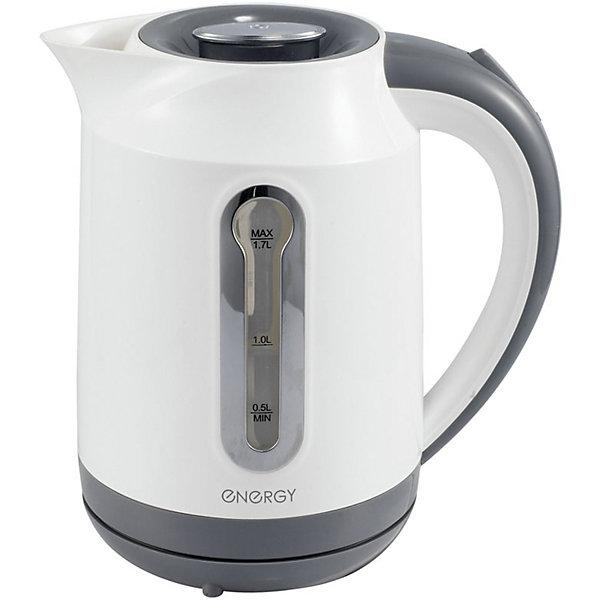 Чайник E-210 (1,7 л, диск), Energy, белыйКухонная утварь<br>Электрический чайник Energy дает возможность быстро вскипятить воду. Чайник оборудован специальным нагревательным элементом, который закрыт и безопасен, есть автоматический выключатель. Световой индикатор работы показывает, когда чайник включен. Имеется внутренняя подсветка. Фильтр чайника можно снять и почистить. Предусмотрена защита во время работы без воды. Шнур прячется в выемку на дне подставки. Чайник на подставке можно поворачивать на 360о. Шкала уровня воды находится на внешней стороне чайника, нанесена на прозрачное пластиковое окошко.<br><br>Дополнительная информация:<br><br>Размер чайника: 22х22х16,5 см<br>Объем чайника: 1,7 л<br><br>Материал: пластик, металл, кабель<br><br>Мощность: 1850-2200Вт<br>Напряжение: 220-240В, 50/60Гц<br> <br>Чайник E-210 (1,7 л, диск), Energy, белый можно купить в нашем интернет-магазине.<br><br>Ширина мм: 220<br>Глубина мм: 170<br>Высота мм: 220<br>Вес г: 1088<br>Возраст от месяцев: 216<br>Возраст до месяцев: 1080<br>Пол: Унисекс<br>Возраст: Детский<br>SKU: 4989884