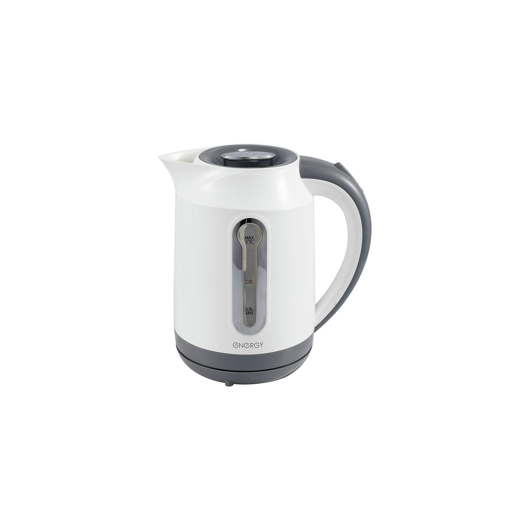 Чайник E-210 (1,7 л, диск), Energy, белыйБытовая техника для кухни<br>Электрический чайник Energy дает возможность быстро вскипятить воду. Чайник оборудован специальным нагревательным элементом, который закрыт и безопасен, есть автоматический выключатель. Световой индикатор работы показывает, когда чайник включен. Имеется внутренняя подсветка. Фильтр чайника можно снять и почистить. Предусмотрена защита во время работы без воды. Шнур прячется в выемку на дне подставки. Чайник на подставке можно поворачивать на 360о. Шкала уровня воды находится на внешней стороне чайника, нанесена на прозрачное пластиковое окошко.<br><br>Дополнительная информация:<br><br>Размер чайника: 22х22х16,5 см<br>Объем чайника: 1,7 л<br><br>Материал: пластик, металл, кабель<br><br>Мощность: 1850-2200Вт<br>Напряжение: 220-240В, 50/60Гц<br> <br>Чайник E-210 (1,7 л, диск), Energy, белый можно купить в нашем интернет-магазине.<br><br>Ширина мм: 220<br>Глубина мм: 170<br>Высота мм: 220<br>Вес г: 1088<br>Возраст от месяцев: 216<br>Возраст до месяцев: 1080<br>Пол: Унисекс<br>Возраст: Детский<br>SKU: 4989884
