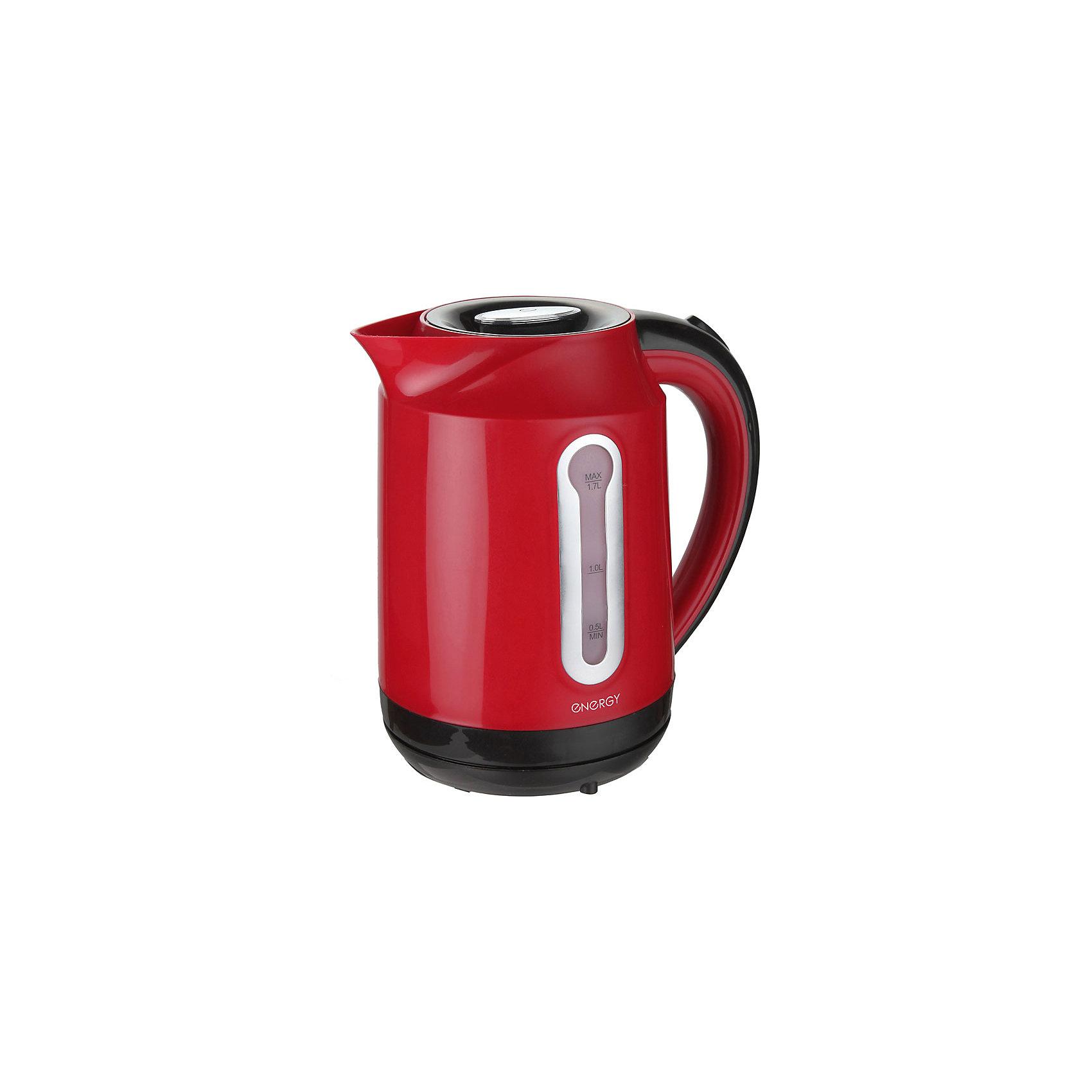 Чайник E-210 (1,7 л, диск), Energy, красныйЭлектрический чайник Energy дает возможность быстро вскипятить воду. Чайник оборудован специальным нагревательным элементом, который закрыт и безопасен, есть автоматический выключатель. Световой индикатор работы показывает, когда чайник включен. Имеется внутренняя подсветка. Фильтр чайника можно снять и почистить. Предусмотрена защита во время работы без воды. Шнур прячется в выемку на дне подставки. Чайник на подставке можно поворачивать на 360о. Шкала уровня воды находится на внешней стороне чайника, нанесена на прозрачное пластиковое окошко.<br><br>Дополнительная информация:<br><br>Размер чайника: 22х22х16,5 см<br>Объем чайника: 1,7 л<br><br>Материал: пластик, металл, кабель<br><br>Мощность: 1850-2200Вт<br>Напряжение: 220-240В, 50/60Гц<br> <br>Чайник E-210 (1,7 л, диск), Energy, красный можно купить в нашем интернет-магазине.<br><br>Ширина мм: 220<br>Глубина мм: 170<br>Высота мм: 220<br>Вес г: 1085<br>Возраст от месяцев: 216<br>Возраст до месяцев: 1080<br>Пол: Унисекс<br>Возраст: Детский<br>SKU: 4989885