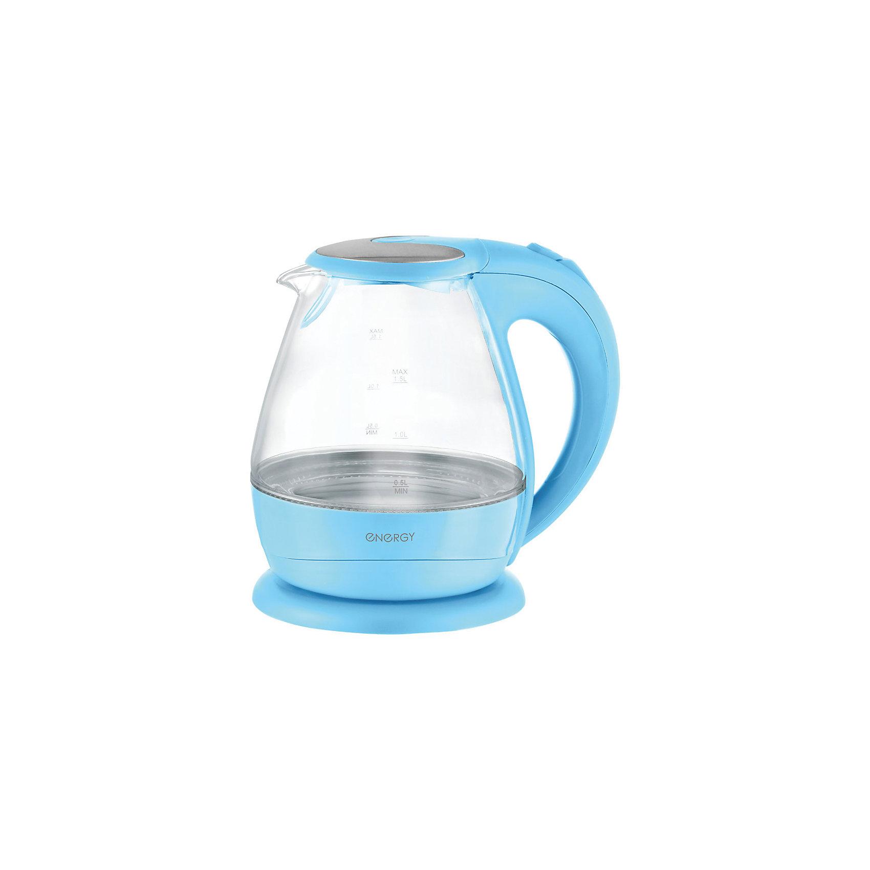 Чайник E-266 (1,5 л, диск) стеклянный, Energy, голубойБытовая техника для кухни<br>Электрический чайник Energy дает возможность быстро вскипятить воду. Чайник оборудован закрытым нагревательным элементом из нержавеющей стали, есть автоматический выключатель. Имеется внутренняя подсветка. Предусмотрена защита от работы без воды. Фильтр чайника съемный. Чайник на подставке можно поворачивать на 360 градусов. Шкала уровня воды находится на внешней стороне чайника, корпус полностью прозрачный.<br><br>Дополнительная информация:<br><br>Размер чайника: 23,5х21,2х19,9 см<br>Объем чайника: 1,5 л<br><br>Материал: термостойкое стекло, пластик, нержавеющая сталь<br><br>Мощность: 1850-2200Вт<br>Напряжение: 220-240В, 50/60Гц<br> <br>Чайник E-266 (1,5 л, диск) стеклянный, Energy, голубой можно купить в нашем интернет-магазине.<br><br>Ширина мм: 210<br>Глубина мм: 200<br>Высота мм: 240<br>Вес г: 1415<br>Возраст от месяцев: 216<br>Возраст до месяцев: 1080<br>Пол: Унисекс<br>Возраст: Детский<br>SKU: 4989887