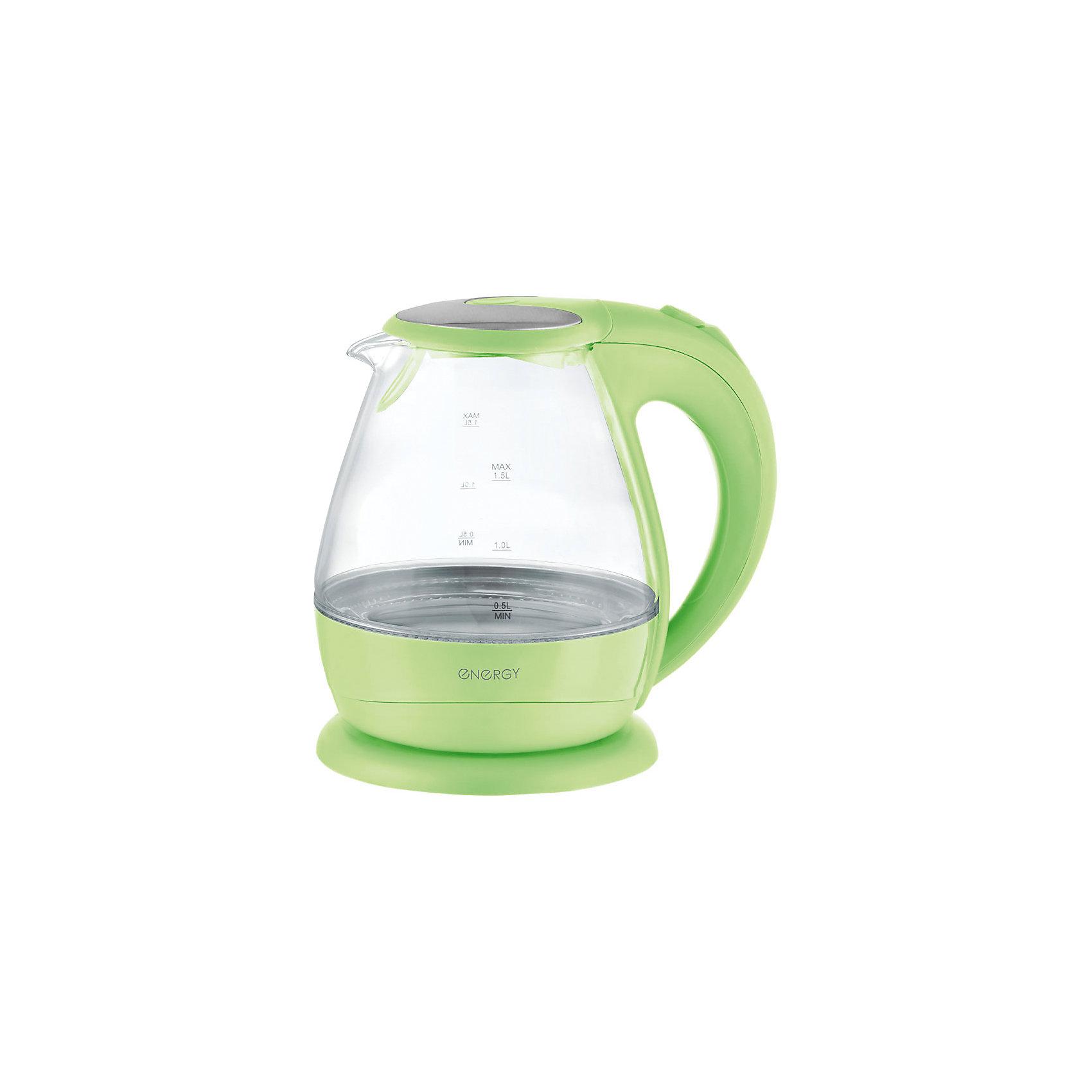Чайник E-266 (1,5 л, диск) стеклянный, Energy, зеленыйБытовая техника для кухни<br>Электрический чайник Energy дает возможность быстро вскипятить воду. Чайник оборудован закрытым нагревательным элементом из нержавеющей стали, есть автоматический выключатель. Имеется внутренняя подсветка. Предусмотрена защита от работы без воды. Фильтр чайника съемный. Чайник на подставке можно поворачивать на 360 градусов. Шкала уровня воды находится на внешней стороне чайника, корпус полностью прозрачный.<br><br>Дополнительная информация:<br><br>Размер чайника: 23,5х21,2х19,9 см<br>Объем чайника: 1,5 л<br><br>Материал: термостойкое стекло, пластик, нержавеющая сталь<br><br>Мощность: 1850-2200Вт<br>Напряжение: 220-240В, 50/60Гц<br> <br>Чайник E-266 (1,5 л, диск) стеклянный, Energy, зеленый можно купить в нашем интернет-магазине.<br><br>Ширина мм: 210<br>Глубина мм: 200<br>Высота мм: 240<br>Вес г: 1441<br>Возраст от месяцев: 216<br>Возраст до месяцев: 1080<br>Пол: Унисекс<br>Возраст: Детский<br>SKU: 4989888