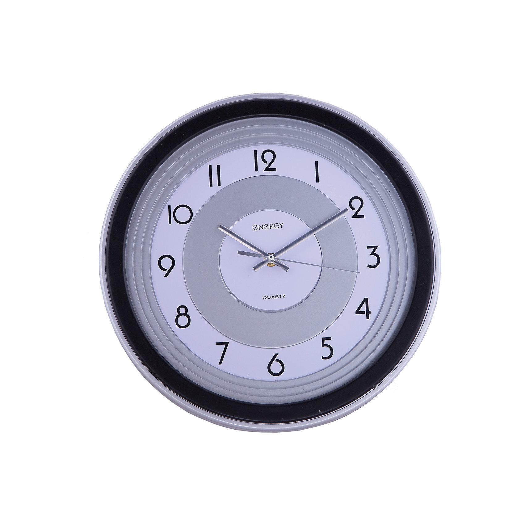 Часы настенные кварцевые ЕС-10, EnergyПредметы интерьера<br>Знать точное время вам помогут кварцевые часы Energy. Настенные часы круглой формы с крупными цифрами на циферблате оформлены в строгом серо-черном цвете. Плавный ход часов. <br><br>Дополнительная информация:<br><br>Размер: 33,5х33,5 см <br><br>Материал корпуса: пластик<br><br>Напряжение: 1.5В<br><br>Для работы настенных часов требуется приобрести батарейки: 1 шт. типа АА<br><br>Часы настенные кварцевые ЕС-10, Energy можно купить в нашем интернет-магазине.<br><br>Ширина мм: 330<br>Глубина мм: 50<br>Высота мм: 330<br>Вес г: 770<br>Возраст от месяцев: 36<br>Возраст до месяцев: 1080<br>Пол: Унисекс<br>Возраст: Детский<br>SKU: 4989891