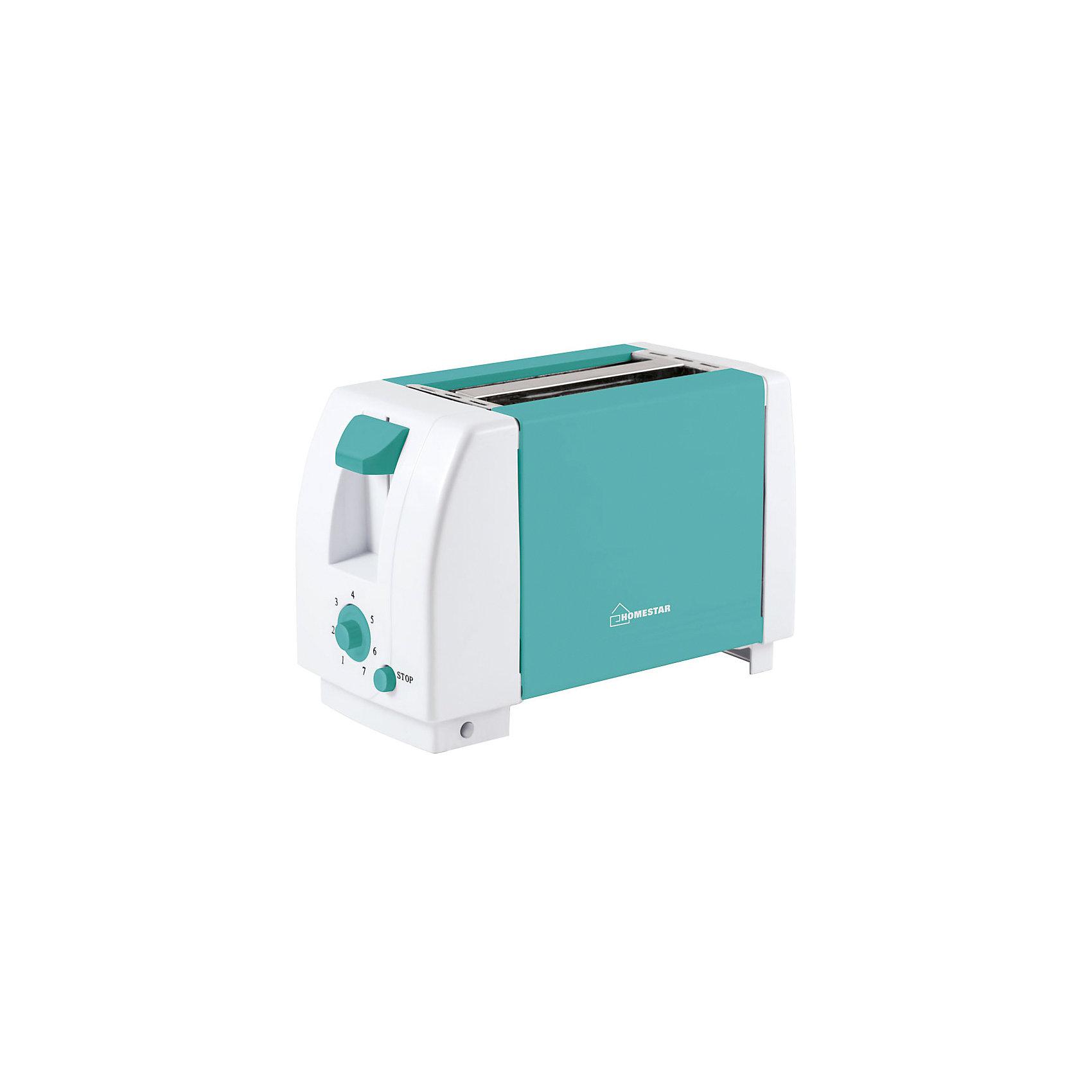 Тостер HS-2002 750Вт, HomeStar, бирюзовыйБытовая техника для кухни<br>Приготовить хрустящие тосты помогает функциональный тостер HomeStar. 7 степеней прожарки хлеба дают возможность выбрать подходящий режим: с более поджаренной корочкой или только слегка подрумяненной. После приготовления тостов, они автоматически поднимутся наверх. На тостере имеется кнопка отмены выбранного режима. Тостер оснащен двумя широкими слотами для хлеба. Имеется специальный поддон для крошек. <br><br>Дополнительная информация:<br><br>Размеры тостера: 27,5х12,3х17,3 см<br><br>Мощность 750 Вт<br>Напряжение: 230В, 50 Гц<br><br>Тостер HS-2002 750Вт, HomeStar, бирюзовый можно купить в нашем интернет-магазине.<br><br>Ширина мм: 280<br>Глубина мм: 120<br>Высота мм: 170<br>Вес г: 1003<br>Возраст от месяцев: 216<br>Возраст до месяцев: 1080<br>Пол: Унисекс<br>Возраст: Детский<br>SKU: 4989892