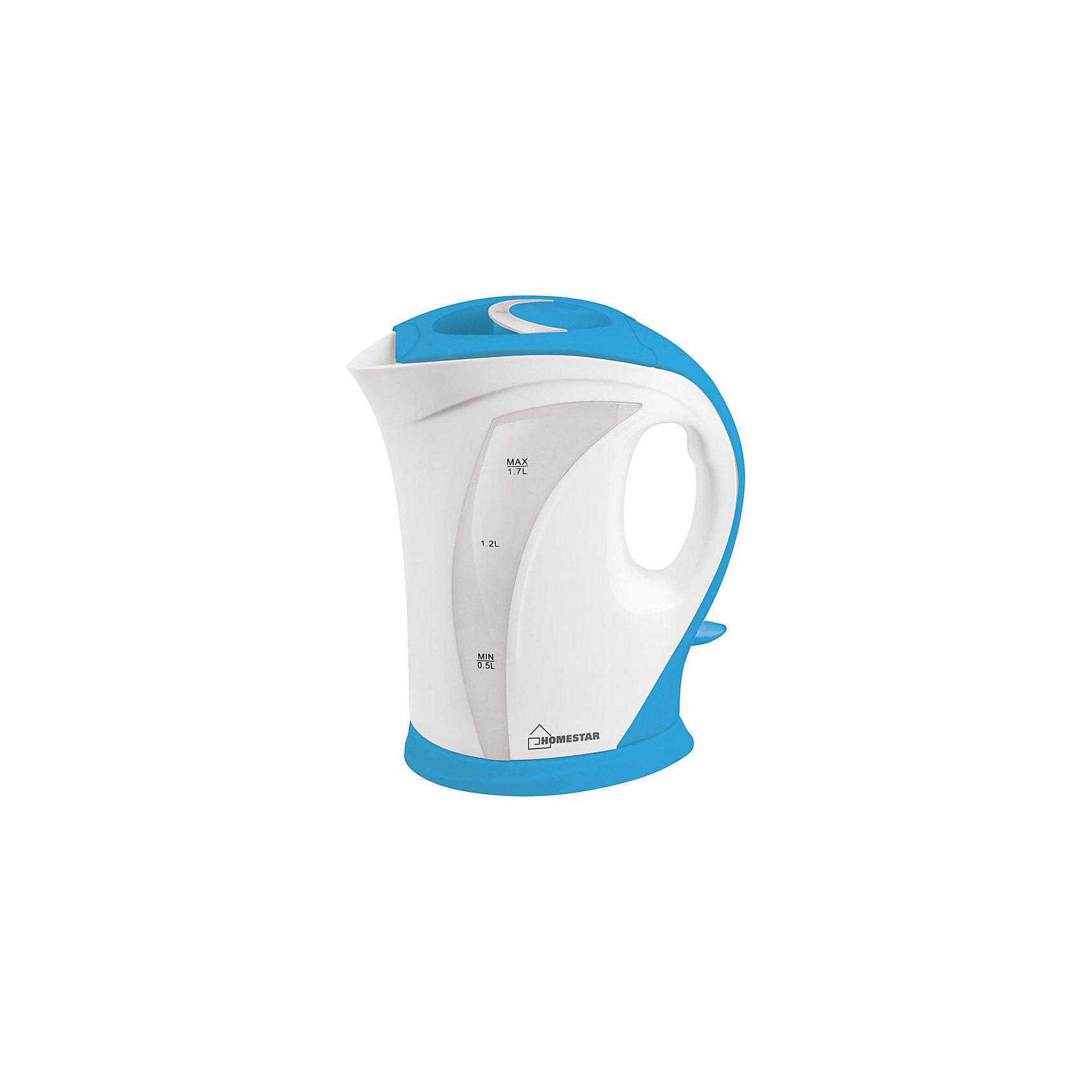 Чайник HS-1006 (1,7 л), HomeStar, бело-голубойБытовая техника для кухни<br>Электрический чайник Energy дает возможность быстро вскипятить воду. Чайник оборудован открытым нагревательным элементом из нержавеющей стали, есть функция автоотключения при закипании. Предусмотрена защита от работы без воды. Шкала уровня воды находится на внешней стороне чайника на прозрачном окошке.<br><br>Дополнительная информация:<br><br>Размер чайника: 24,5х19,5х13,6 см<br>Объем чайника: 1,7 л<br><br>Материал корпуса: пластик<br>Нагревательный элемент: нержавеющая сталь<br><br>Мощность: 1850-2200Вт<br>Напряжение: 220-240В, 50/60Гц<br> <br>Чайник HS-1006 (1,7 л), HomeStar, бело-голубой можно купить в нашем интернет-магазине.<br><br>Ширина мм: 200<br>Глубина мм: 140<br>Высота мм: 250<br>Вес г: 868<br>Возраст от месяцев: 216<br>Возраст до месяцев: 1080<br>Пол: Унисекс<br>Возраст: Детский<br>SKU: 4989894