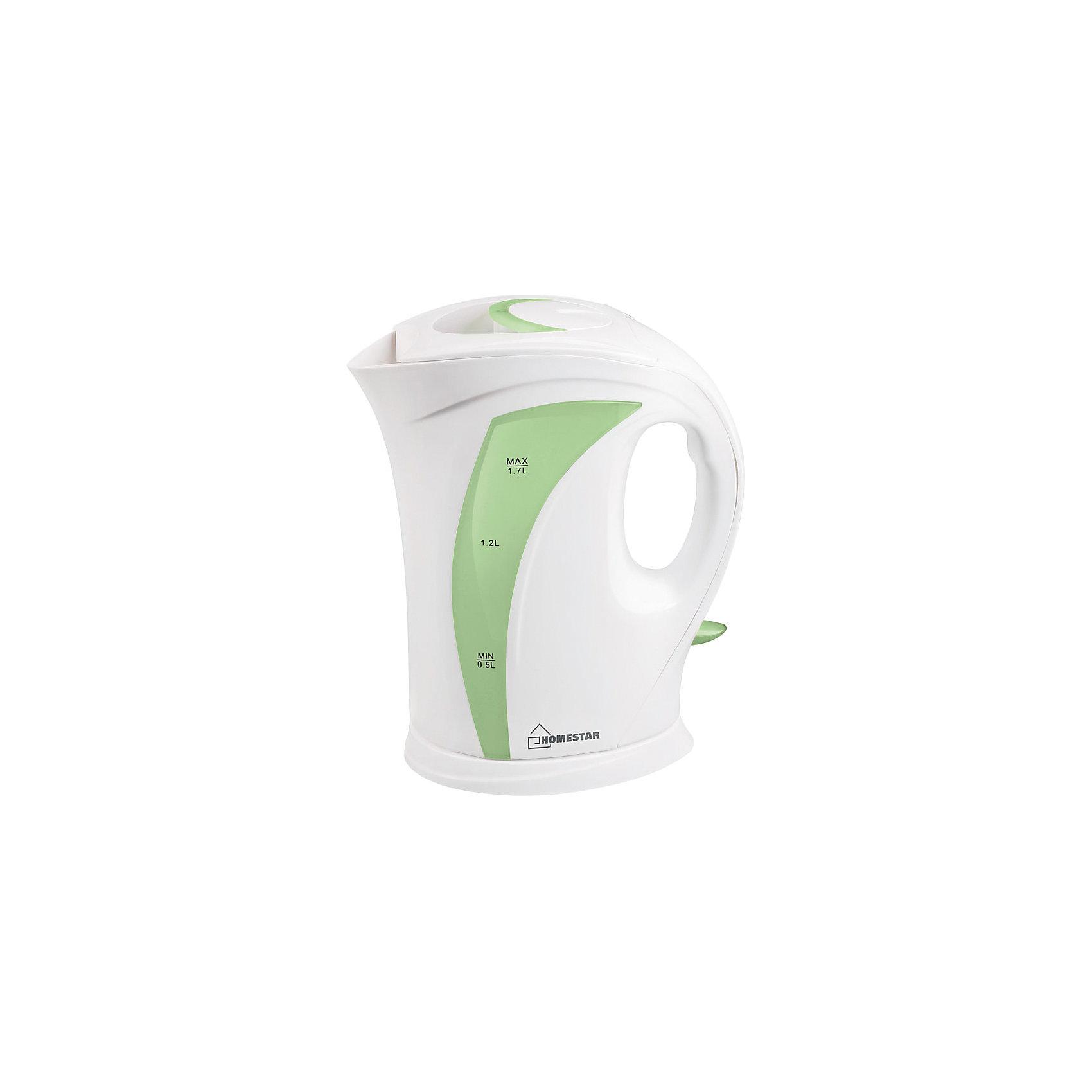 Чайник HS-1006 (1,7 л), HomeStar,  бело-зеленыйЭлектрический чайник Energy дает возможность быстро вскипятить воду. Чайник оборудован открытым нагревательным элементом из нержавеющей стали, есть функция автоотключения при закипании. Предусмотрена защита от работы без воды. Шкала уровня воды находится на внешней стороне чайника на прозрачном окошке.<br><br>Дополнительная информация:<br><br>Размер чайника: 24,5х19,5х13,6 см<br>Объем чайника: 1,7 л<br><br>Материал корпуса: пластик<br>Нагревательный элемент: нержавеющая сталь<br><br>Мощность: 1850-2200Вт<br>Напряжение: 220-240В, 50/60Гц<br> <br>Чайник HS-1006 (1,7 л), HomeStar, бело-зеленый можно купить в нашем интернет-магазине.<br><br>Ширина мм: 200<br>Глубина мм: 140<br>Высота мм: 250<br>Вес г: 862<br>Возраст от месяцев: 216<br>Возраст до месяцев: 1080<br>Пол: Унисекс<br>Возраст: Детский<br>SKU: 4989895
