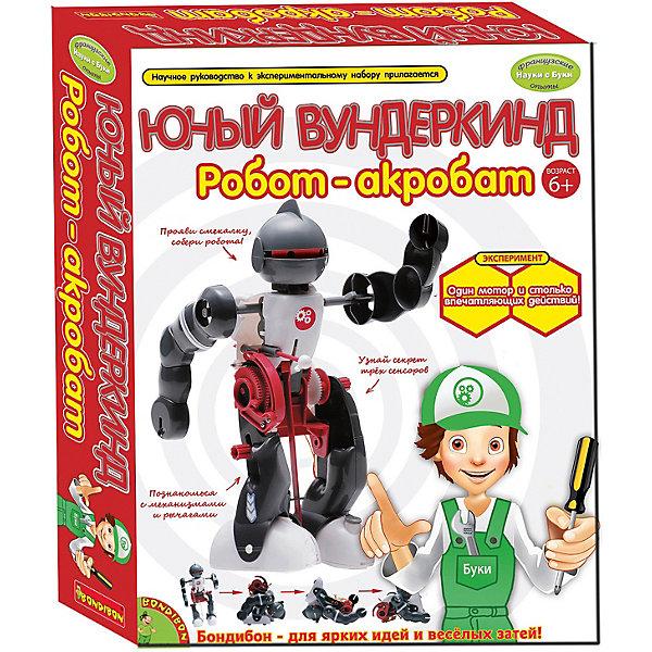 Французские опыты Робот-акробатРобототехника и электроника<br>Французские опыты Робот-акробат от известного производителя интересных опытов и экспериментов для детей Bondibon (Бондибон). На этот раз детям предлагается провести опыты по робототехнике и собрать собственного интерактивного робота, который может ходить, падать и снова вставать. Этот набор позволит ребенку почувствовать себя настоящим гением механики, ведь в этот набор входят различные детальки и  даже двигатель. Наличие такого набора на своем рабочем столе захватывает дух и взывает к новым открытиям! Последовательная инструкция поможет ребенку разобраться в работе шестеренок, ремней, цепей и сенсоров. Развивающие опыты помогут ребенку заинтересоваться школьными предметами и естественными науками в целом, расширяя границы теории и давая возможность попробовать все самому на практике. Не смотря на всю серьезность опытов, это еще и отличная игра для интересного времяпровождения.<br>Дополнительная информация:<br>- В комплект входит: детали для сборки, наклейки, двигатель, инструкция.<br>- Материал: пластик, металл <br>- Вес: 333 гр.<br>- Размер коробки: 28,5 * 6,5 * 22,5 см.<br><br>Французские опыты Робот-акробат можно купить в нашем интернет-магазине.<br>Подробнее:<br>• Для детей в возрасте: от 6 лет<br>• Номер товара: 4993004<br>Страна производитель: Китай<br>Ширина мм: 23; Глубина мм: 7; Высота мм: 29; Вес г: 363; Возраст от месяцев: 72; Возраст до месяцев: 144; Пол: Унисекс; Возраст: Детский; SKU: 4993004;