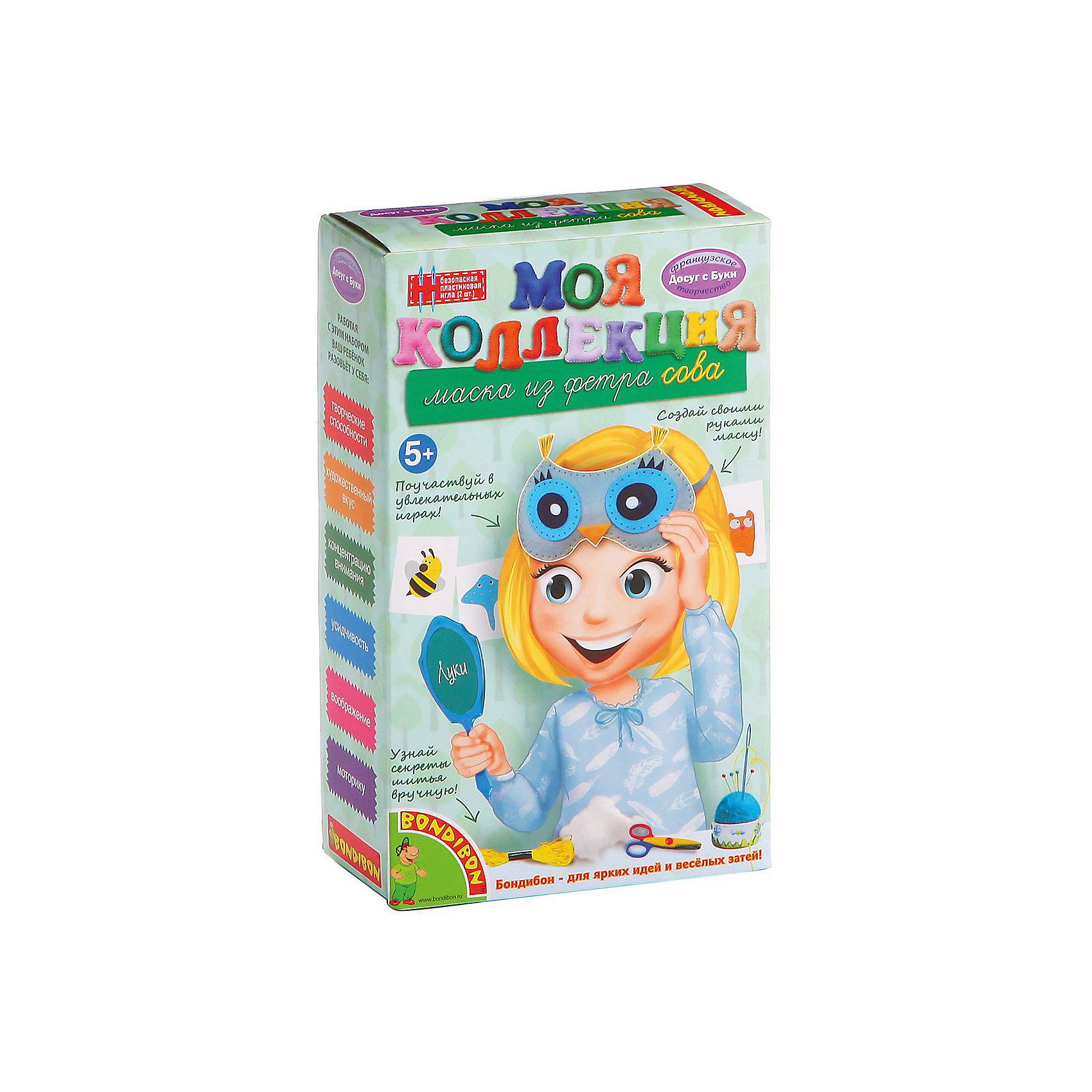 Шьем из фетра Маска СоваШьем из фетра Маска Сова – легко даже для новичков.<br>Набор содержит приятные на ощупь выкройки для игрушки. Ткань изготовлена из качественного материала, не вызывающего аллергию. Подробная инструкция поможет ребенку сшить игрушку красиво и правильно, даже если он делает это впервые. <br><br>Дополнительная информация:<br><br>- возраст: от 5 лет<br>- материал: фетр, наполнитель, нитки, иголка, инструкция<br>- игрушка: маска сова<br><br>Шьем из фетра Маска Сова можно купить в нашем интернет магазине.<br><br>Ширина мм: 13<br>Глубина мм: 6<br>Высота мм: 21<br>Вес г: 138<br>Возраст от месяцев: 60<br>Возраст до месяцев: 144<br>Пол: Женский<br>Возраст: Детский<br>SKU: 4993110