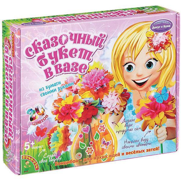 Набор для творчества Сказочный букет в вазеБумага<br>Набор для творчества Сказочный букет в вазе – делаем подарки своими руками.<br>Красивые яркие цветы из бумаги делаются по очень простой схеме. Даже малыши, самостоятельно, могут сделать такую поделку и подарить потом ее. Дизайн цветов ребенок может выбрать самостоятельно, комбинируя элементы по собственному желанию. Точно также и с вазой, которую дети самостоятельно декорируют с помощью необычных наклеек.<br><br><br>Дополнительная информация:<br><br>- возраст: от 5 лет<br>- материал: бумага, картон, краситель<br>- количество деталей: 20<br><br>Набор для творчества Сказочный букет в вазе можно купить в нашем интернет магазине.<br><br>Ширина мм: 25<br>Глубина мм: 6<br>Высота мм: 27<br>Вес г: 433<br>Возраст от месяцев: 60<br>Возраст до месяцев: 144<br>Пол: Женский<br>Возраст: Детский<br>SKU: 4993111