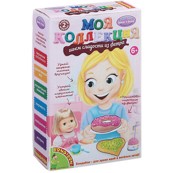 Шьем сладости из фетра 2 пирожныхШитьё<br>Шьем сладости из фетра 2 пирожных – легко даже для новичков.<br>Набор содержит приятные на ощупь выкройки для «вкусной» игрушки. Ткань изготовлена из качественного материала, не вызывающего аллергию. Подробная инструкция поможет ребенку сшить игрушку красиво и правильно, даже если он делает это впервые. <br><br>Дополнительная информация:<br><br>- возраст: от 6 лет<br>- материал: фетр, наполнитель, нитки, иголка, инструкция<br>- игрушка: 2 пирожных<br><br>Шьем сладости из фетра 2 пирожных можно купить в нашем интернет магазине.<br><br>Ширина мм: 13<br>Глубина мм: 6<br>Высота мм: 21<br>Вес г: 130<br>Возраст от месяцев: 72<br>Возраст до месяцев: 144<br>Пол: Женский<br>Возраст: Детский<br>SKU: 4993121