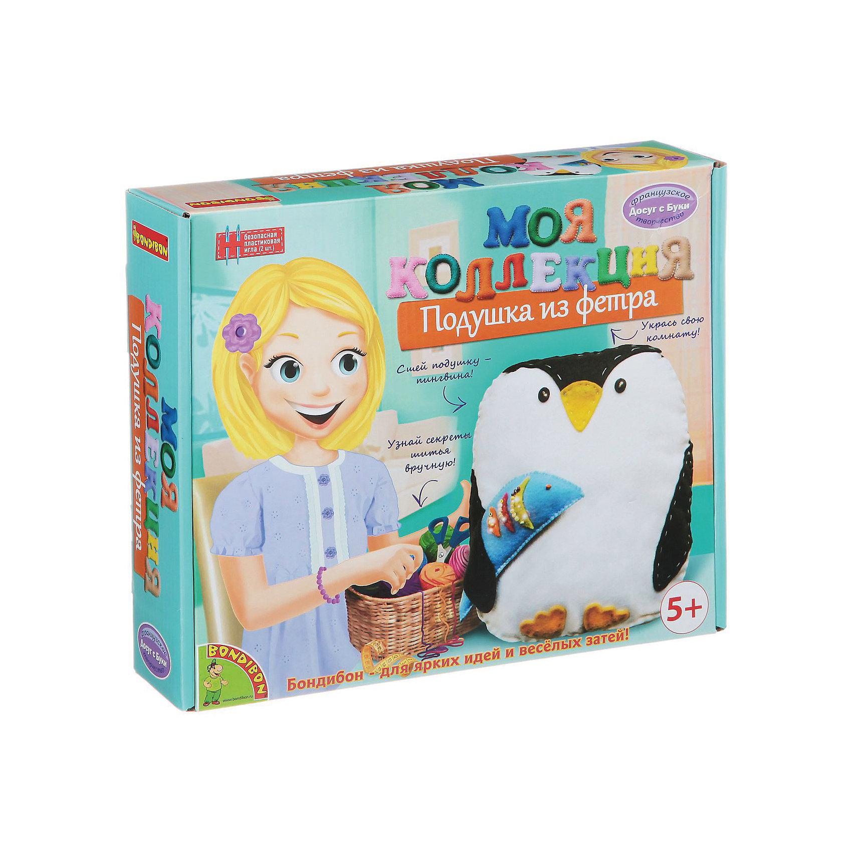 Шьем из фетра Подушка-пингвинШьем из фетра Подушка-пингвин – легко даже для новичков.<br>Набор содержит приятные на ощупь выкройки для «вкусной» игрушки. Ткань изготовлена из качественного материала, не вызывающего аллергию. Подробная инструкция поможет ребенку сшить игрушку красиво и правильно, даже если он делает это впервые. Такая милая подушка станет настоящим украшением для детской комнаты.<br><br>Дополнительная информация:<br><br>- возраст: от 6 лет<br>- материал: фетр, наполнитель, нитки, иголка, инструкция<br>- игрушка: подушка-пингвин<br><br>Шьем из фетра Подушка-пингвин можно купить в нашем интернет магазине.<br><br>Ширина мм: 27<br>Глубина мм: 6<br>Высота мм: 22<br>Вес г: 261<br>Возраст от месяцев: 60<br>Возраст до месяцев: 144<br>Пол: Женский<br>Возраст: Детский<br>SKU: 4993125
