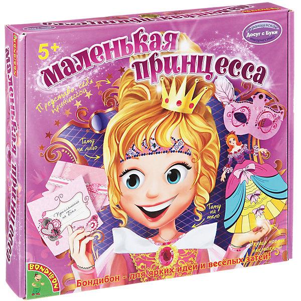 Набор для творчества Маленькая принцессаНаборы стилиста и дизайнера<br>Набор для творчества Маленькая принцесса – этот набор поможет вашей девочки подготовиться к роскошному маскараду!<br>Каждой девочке порой хочется почувствовать себя настоящей принцессой и устроить сказочный бал, который запомнится навсегда! С набором «Маленькая принцесса» воплотить мечты в реальность стало просто и легко! В набор входят временные тату для лица и тела, самоклеящиеся наклейки для ногтей, а также цветная бумага, стразы и фломастеры, с помощью которых девочки смогут приготовить приглашение на бал и украсить куклу-принцессу, платье которой  становится объемным, если надуть его с помощью пластиковой трубочки. Также девочки смогут по прилагаемым в наборе эскизам сделать украшения – маску для лица, бумажные бусы и браслеты. Теперь для бала маленькой принцессы все готово! Занятия с набором для творчества «Маленькая принцесса» не оставляют равнодушной ни одну девочку. Кроме того, комплект не только поднимает настроение, но и приносит большую пользу. Придумывая узоры для украшения аксессуаров, ребенок развивает воображение, фантазию и художественный вкус. Создавая своими руками изделия из бумаги, девочка учится терпению и аккуратности, а также привыкает доводить начатое дело до конца.<br><br>Дополнительная информация:<br><br>- В наборе: 5 листов цветной бумаги для изготовления бус и браслетов, заготовки для изготовления масок, открыток и конвертов, наклейки для ногтей и для украшения аксессуаров, тату для лица и тела, 20 стразов, игрушка-принцесса, 3 фломастера, клей, гель с блестками, ленточка, подробная инструкция<br>- Упаковка: картонная коробка<br>- Размер упаковки: 27х24,5х4 см.<br>- Вес: 295 гр.<br><br>Набор для творчества Маленькая принцесса можно купить в нашем интернет-магазине.<br>Ширина мм: 25; Глубина мм: 4; Высота мм: 27; Вес г: 295; Возраст от месяцев: 60; Возраст до месяцев: 144; Пол: Женский; Возраст: Детский; SKU: 4993138;