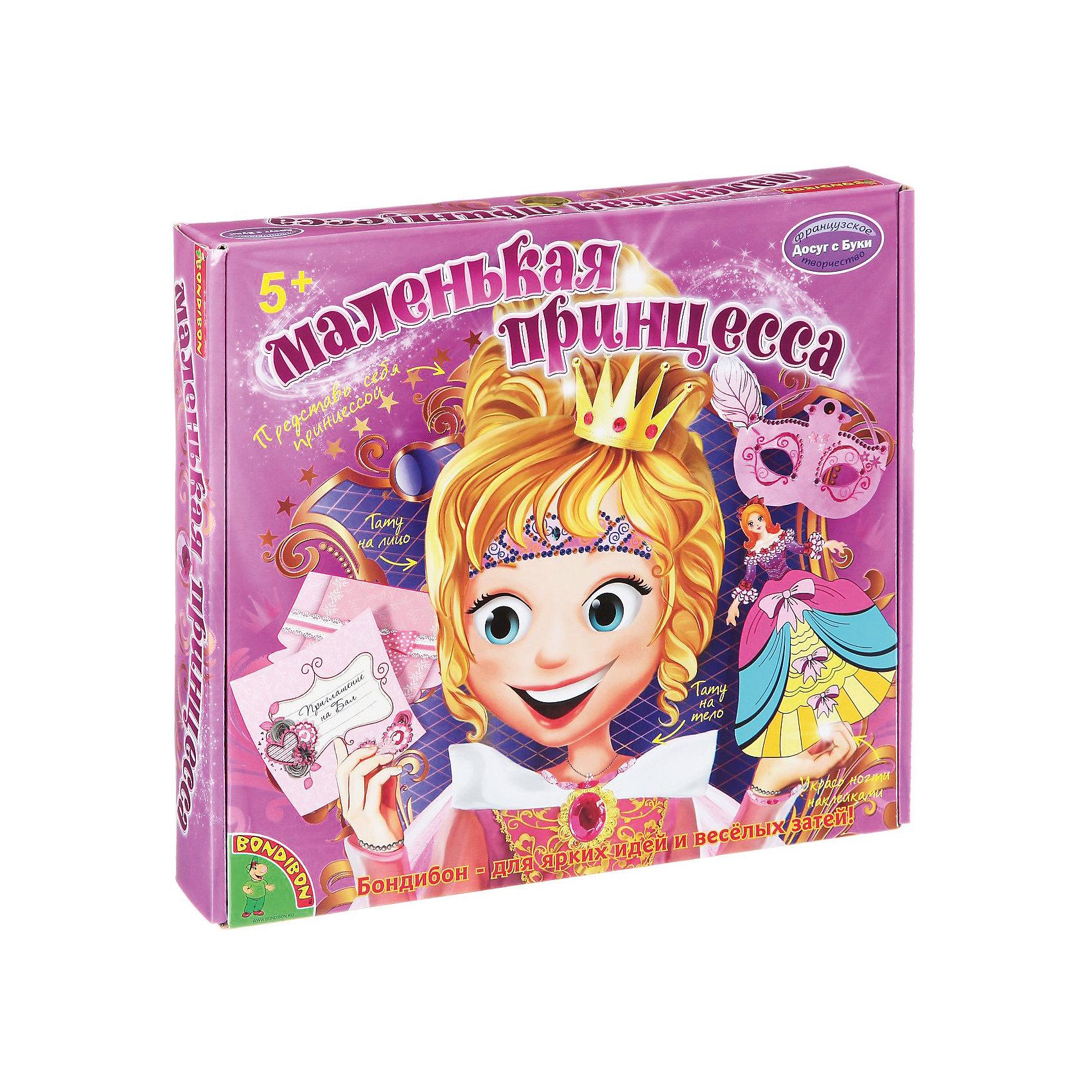 Набор для творчества Маленькая принцессаНабор для творчества Маленькая принцесса – этот набор поможет вашей девочки подготовиться к роскошному маскараду!<br>Каждой девочке порой хочется почувствовать себя настоящей принцессой и устроить сказочный бал, который запомнится навсегда! С набором «Маленькая принцесса» воплотить мечты в реальность стало просто и легко! В набор входят временные тату для лица и тела, самоклеящиеся наклейки для ногтей, а также цветная бумага, стразы и фломастеры, с помощью которых девочки смогут приготовить приглашение на бал и украсить куклу-принцессу, платье которой  становится объемным, если надуть его с помощью пластиковой трубочки. Также девочки смогут по прилагаемым в наборе эскизам сделать украшения – маску для лица, бумажные бусы и браслеты. Теперь для бала маленькой принцессы все готово! Занятия с набором для творчества «Маленькая принцесса» не оставляют равнодушной ни одну девочку. Кроме того, комплект не только поднимает настроение, но и приносит большую пользу. Придумывая узоры для украшения аксессуаров, ребенок развивает воображение, фантазию и художественный вкус. Создавая своими руками изделия из бумаги, девочка учится терпению и аккуратности, а также привыкает доводить начатое дело до конца.<br><br>Дополнительная информация:<br><br>- В наборе: 5 листов цветной бумаги для изготовления бус и браслетов, заготовки для изготовления масок, открыток и конвертов, наклейки для ногтей и для украшения аксессуаров, тату для лица и тела, 20 стразов, игрушка-принцесса, 3 фломастера, клей, гель с блестками, ленточка, подробная инструкция<br>- Упаковка: картонная коробка<br>- Размер упаковки: 27х24,5х4 см.<br>- Вес: 295 гр.<br><br>Набор для творчества Маленькая принцесса можно купить в нашем интернет-магазине.<br><br>Ширина мм: 25<br>Глубина мм: 4<br>Высота мм: 27<br>Вес г: 295<br>Возраст от месяцев: 60<br>Возраст до месяцев: 144<br>Пол: Женский<br>Возраст: Детский<br>SKU: 4993138