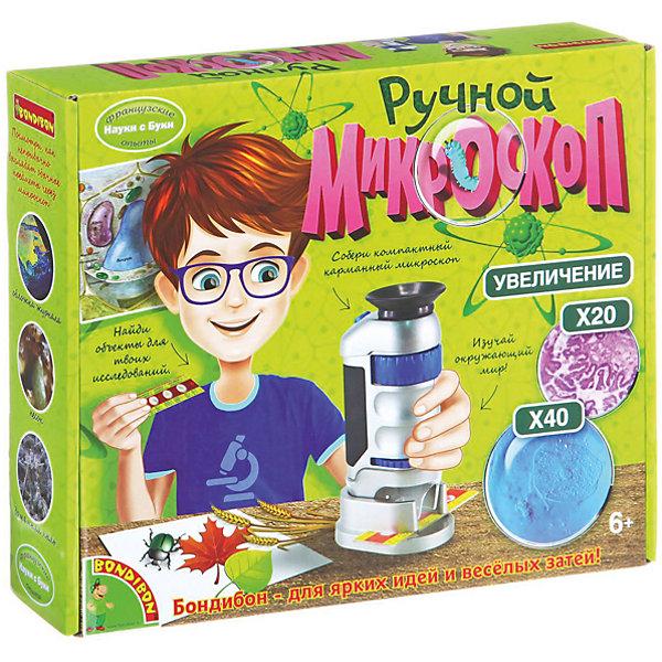 Французские опыты Ручной микроскопМикроскопы<br>Французские опыты Ручной микроскоп  торговой марки  Bondibon – это ручной микроскоп и ребенок сможет собрать его сам. Микроскоп может увеличивать предметы в 20 и 40 раз. Микроскоп очень компактный и мобильный, с его помощью можно изучать окружающий мир. В комплекте уже имеется готовый слайд, но можно проводить также и собственные эксперименты. В составе набора есть подробная инструкция, линза, светодиодная кнопка вкл/выкл, масштабирующее колесо, колесо фокусировки, крышка для батареек, кнопка на крышке для батареек, линза объектива, светодиодная лампочка, подсветка, ремешок, готовый слайд.<br><br>Дополнительная информация:<br><br>- возраст: от 6 лет<br>- пол: для мальчиков и девочек<br>- материал: металл, резина, пластик.<br>- упаковка: картонная коробка. <br>- комплект: линза, светодиодная кнопка вкл/выкл, масштабирующее колесо, колесо фокусировки, крышка для батареек, кнопка на крышке для батареек, линза объектива, светодиодная лампочка, подсветка, ремешок, готовый слайд.<br>- наличие батареек: входят в комплект.<br>- тип батареек: на батарейках.<br>- страна обладатель бренда: Бельгия.<br><br>Французские опыты  Ручной микроскоп  торговой марки  Bondibon можно купить в нашем интернет-магазине<br>Ширина мм: 270; Глубина мм: 60; Высота мм: 225; Вес г: 308; Возраст от месяцев: 72; Возраст до месяцев: 144; Пол: Унисекс; Возраст: Детский; SKU: 4993259;