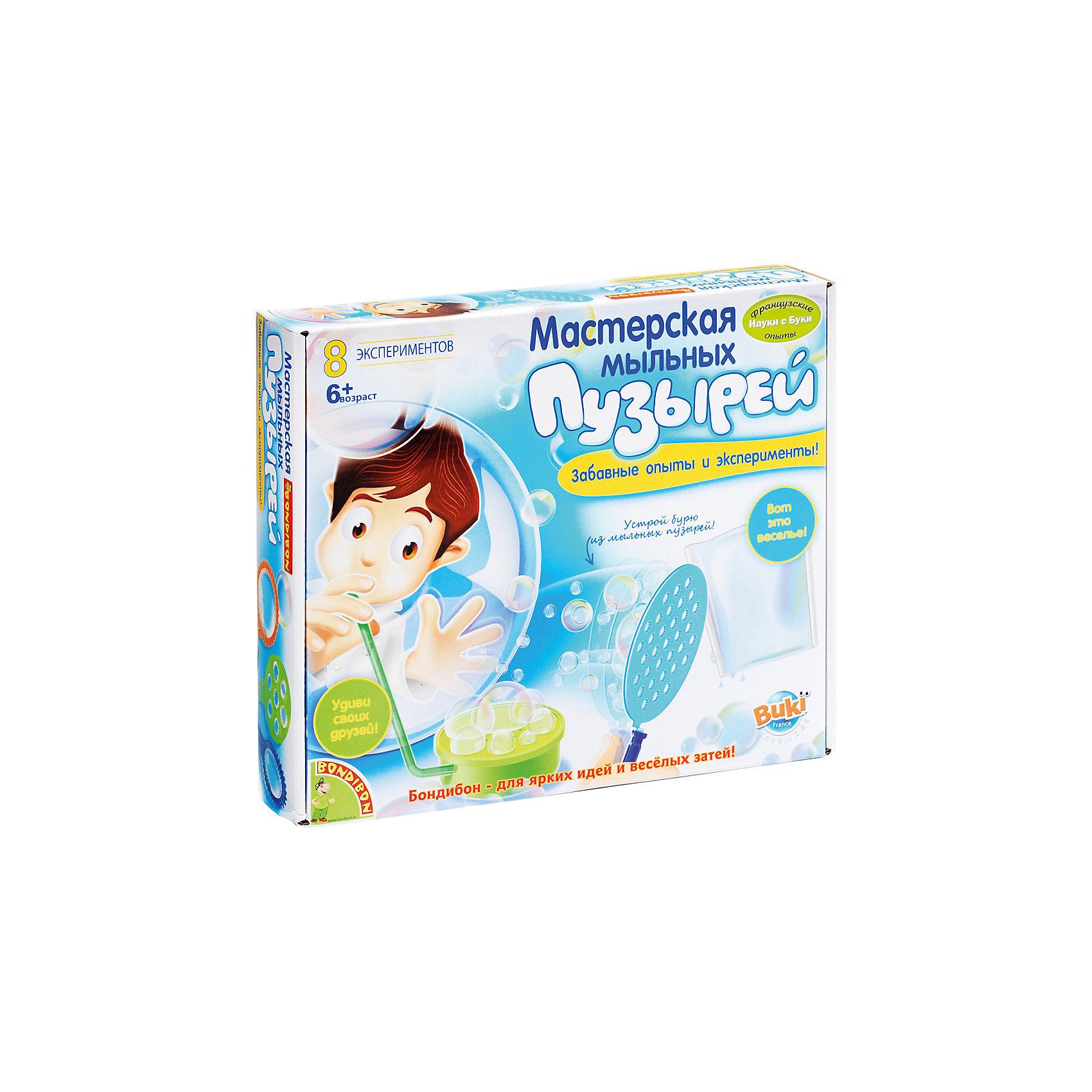 Французские опыты Мастерская мыльных пузырей (8 экспериментов)Создание мыла<br>Надувать мыльные пузыри любят даже взрослые, что уж говорить о детях! Чистые, воздушные, завораживающие – они способны поднять настроение даже в самый пасмурный день. Только сделай глубокий выдох! А как было бы здорово продлить это удовольствие как можно дольше... С Мастерской мыльных пузырей торговой марки  Bondibon такая возможность есть! Даже неизвестно, кому эта игра больше понравится – Вам или Вашему ребенку. Пузыри  могут быть не только в форме шариков, но еще и кубиков, могут вытягиваться и сжиматься, выдуваться группами и так далее. В игровой набор входит бесперебойный конвейер по производству разнообразных мыльных пузырей. Ребенку достаточно освоить несколько простых движений, и он ощутит себя маленьким волшебником. Конвейер позволяет создавать целую бурю из мельчайших пузырей или надуть невероятно гигантский мыльный шар. Всего же с мыльными пузырями можно проводить 8 разных экспериментов. В состав набора входят большой контейнер под мыльный раствор, рукоятка, двойная трубочка, бобина, пластиковые трубочки, трубочки для надувания пузырей, формочки, большой контейнер, воздушные шарики, рукоятка, небольшой аквариум, красочная инструкция с помощью, которой узнает много интересного, разовьет интеллект, фантазию и воображение.<br><br>Дополнительная информация:<br><br>- возраст: от 6 лет<br>- пол: для мальчиков и девочек<br>- комплект: трубочки, шарики, формочки для выдувания, разнообразные аксессуары, инструкция.<br>- материал : пластик, резина.<br>- размер упаковки: 26.5 * 22.5 * 6 см.<br>- упаковка: картонная коробка.<br>- доступные эксперименты: буря из пузырей, он крутится, ты все увидишь дважды, маленькое джакузи, мыльный насос, необыкновенные формы, плоский пузырь, необычные палочки.<br>- страна обладатель бренда: Бельгия.<br><br>Французские опыты Мастерская мыльных пузырей торговой марки  Bondibon можно купить в нашем интернет-магазине<br><br>Ширина мм: 27<br>Глубина мм: 6<br>В