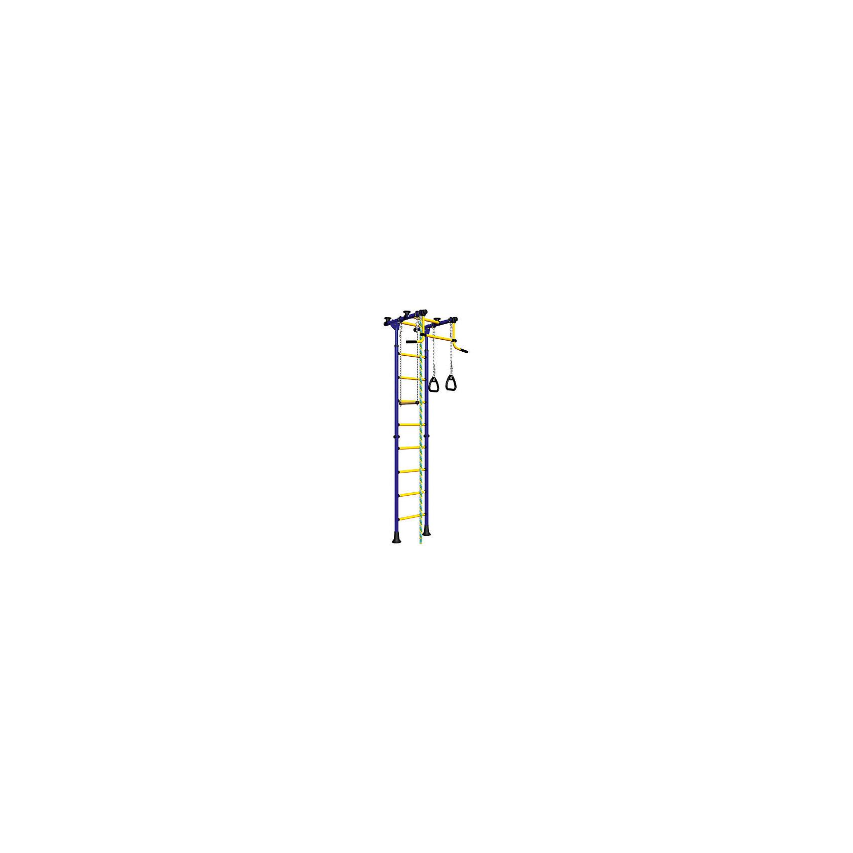 Шведская стенка Комета-2, ROMANA, синий-желтыйШведские стенки<br>Комета-2, ROMANA, синий-желтый.<br><br>Характеристики:<br><br>• Высота: 2,18 м<br>• Цвет: синий, желтый<br>• Допустимый вес: 100 кг<br>• Габариты: 86х94,5 см<br>• Материал: металл<br>• Возраст: от 3 лет<br>• Вес комплекса: 28 кг<br>• Высота стоек: 235-273 см<br>• Ширина ступенек: 49 см<br>• Ширина захвата турника: 84 см<br><br>Детский спортивный комплекс Комета-2 – поможет ребенку вырасти здоровым и крепким. Комплекс включает в себя турник, шведскую стенку, канат, подвесную перекладину и гимнастические кольца. Это все способствует развитию всех групп мышц. Выполнено все из качественного и прочного металла. Стенку легко установить враспор между потолком и полом, и не нужно сверлить стену. Турник не регулируется по высоте. Перекладины с анти-скользящим покрытием, ступени не охлаждаются.<br><br>Комета-2, ROMANA, синий-желтый можно купить в нашем интернет-магазине.<br><br>Ширина мм: 1160<br>Глубина мм: 535<br>Высота мм: 140<br>Вес г: 25000<br>Возраст от месяцев: 36<br>Возраст до месяцев: 192<br>Пол: Унисекс<br>Возраст: Детский<br>SKU: 4993363