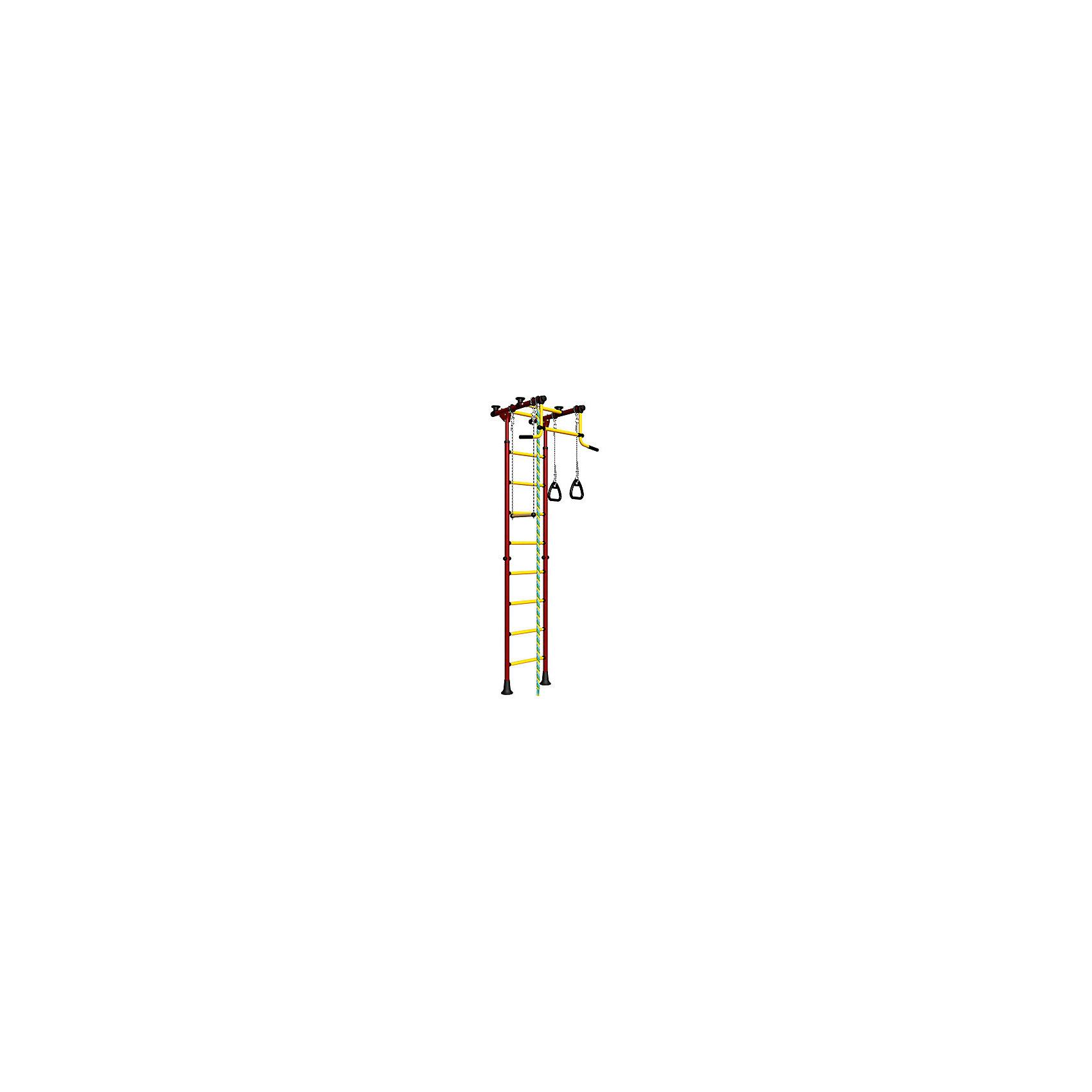 Шведская стенка Комета-2, ROMANA, красный-желтыйКомета-2, ROMANA, красный-желтый<br><br>Характеристики:<br><br>• Высота: 2,18 м<br>• Цвет: красный, желтый<br>• Допустимый вес: 100 кг<br>• Габариты: 86х94,5 см<br>• Материал: металл<br>• Возраст: от 3 лет<br>• Вес комплекса: 28 кг<br>• Высота стоек: 235-273 см<br>• Ширина ступенек: 49 см<br>• Ширина захвата турника: 84 см<br><br>Детский спортивный комплекс Комета-2 – поможет ребенку вырасти здоровым и крепким. Комплекс включает в себя турник, шведскую стенку, канат, подвесную перекладину и гимнастические кольца. Это все способствует развитию всех групп мышц. Выполнено все из качественного и прочного металла. Стенку легко установить враспор между потолком и полом, и не нужно сверлить стену. Турник не регулируется по высоте. Перекладины с анти-скользящим покрытием, ступени не охлаждаются.<br><br>Комета-2, ROMANA, красный-желтый можно купить в нашем интернет-магазине.<br><br>Ширина мм: 1160<br>Глубина мм: 535<br>Высота мм: 140<br>Вес г: 25000<br>Возраст от месяцев: 36<br>Возраст до месяцев: 192<br>Пол: Унисекс<br>Возраст: Детский<br>SKU: 4993365