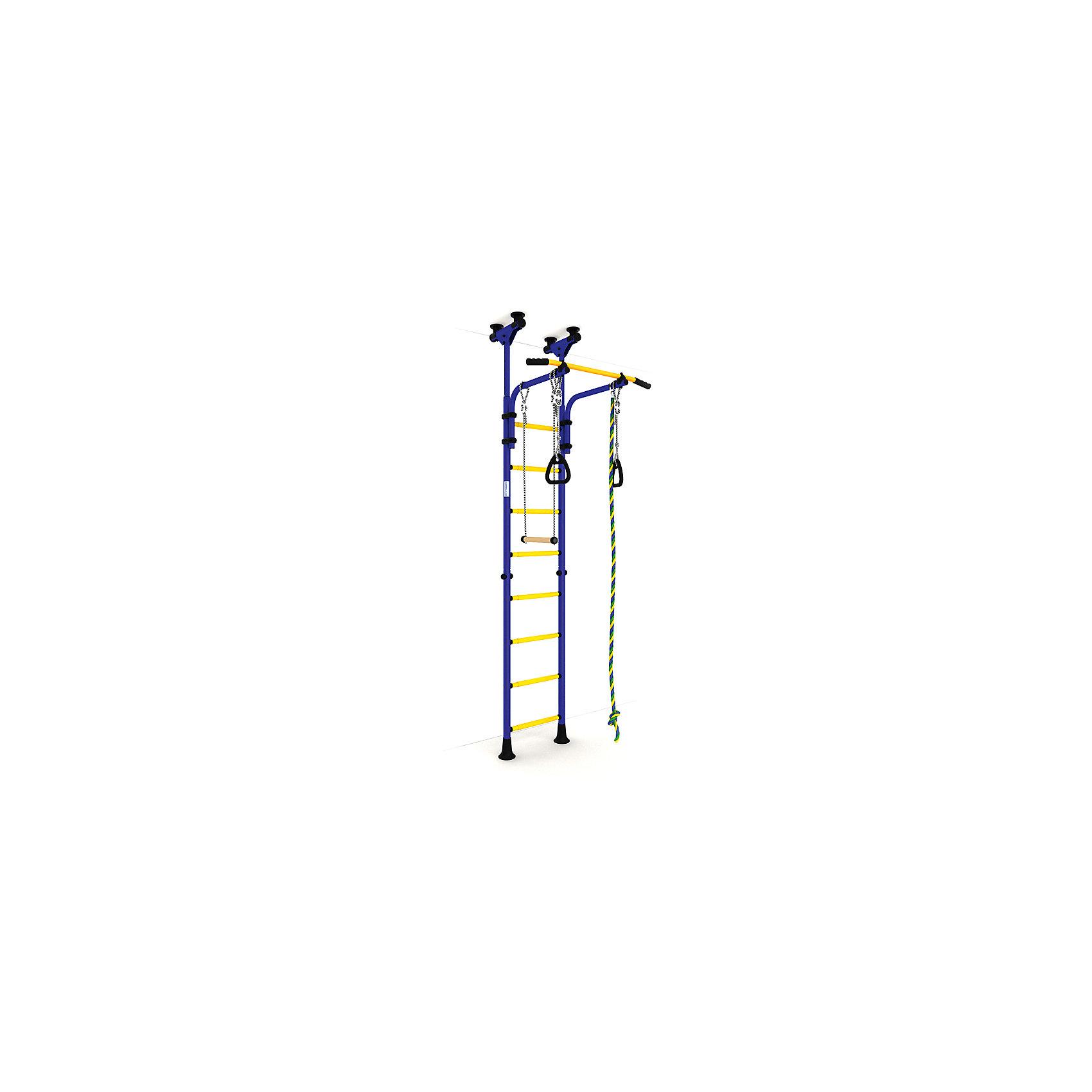 Шведская стенка Комета-5, ROMANA, синий-желтыйШведские стенки<br>Комета-5 , ROMANA, синий-желтый.<br><br>Характеристики:<br><br>• Высота: 2,315 м<br>• Цвет: синий, желтый<br>• Допустимый вес: 100 кг<br>• Габариты: 231,5x74x86<br>• Материал: металл<br>• Возраст: от 3 лет<br>• Вес комплекса: 28 кг<br><br>Детский спортивный комплекс Комета-5 – поможет ребенку вырасти здоровым и крепким. Комплекс включает в себя турник, шведскую стенку, канат, трапецию и гимнастические кольца. Это все способствует развитию всех групп мышц. Выполнено все из качественного и прочного металла. Стенку легко установить враспор между потолком и полом, и не нужно сверлить стену. Турник регулируется по высоте. Перекладины с анти-скользящим покрытием, ступени не охлаждаются и имеют массажное покрытие.<br><br>Комета-5 , ROMANA, синий-желтый можно купить в нашем интернет-магазине.<br><br>Ширина мм: 1160<br>Глубина мм: 535<br>Высота мм: 140<br>Вес г: 25000<br>Возраст от месяцев: 36<br>Возраст до месяцев: 192<br>Пол: Унисекс<br>Возраст: Детский<br>SKU: 4993366