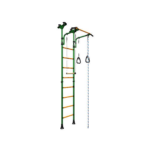 Шведская стенка Комета-5, ROMANA, зеленый-желтыйШведские стенки<br>Комета-5 , ROMANA, зеленый-желтый.<br><br>Характеристики:<br><br>• Высота: 2,315 м<br>• Цвет: зеленый, желтый<br>• Допустимый вес: 100 кг<br>• Габариты: 231,5x74x86<br>• Материал: металл<br>• Возраст: от 3 лет<br>• Вес комплекса: 28 кг<br><br>Детский спортивный комплекс Комета-5 – поможет ребенку вырасти здоровым и крепким. Комплекс включает в себя турник, шведскую стенку, канат, трапецию и гимнастические кольца. Это все способствует развитию всех групп мышц. Выполнено все из качественного и прочного металла. Стенку легко установить враспор между потолком и полом, и не нужно сверлить стену. Турник регулируется по высоте. Перекладины с анти-скользящим покрытием, ступени не охлаждаются и имеют массажное покрытие.<br><br>Комета-5 , ROMANA, зеленый-желтый можно купить в нашем интернет-магазине.<br><br>Ширина мм: 1160<br>Глубина мм: 535<br>Высота мм: 140<br>Вес г: 25000<br>Возраст от месяцев: 36<br>Возраст до месяцев: 192<br>Пол: Унисекс<br>Возраст: Детский<br>SKU: 4993367