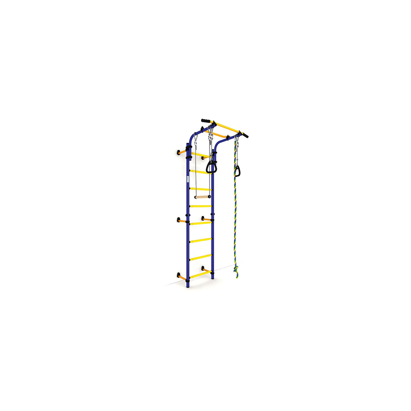 Шведская стенка Комета NEXT-1 (490 мм), ROMANA, синий-желтыйШведские стенки<br>Комета NEXT-1 (490 мм), ROMANA, синий-желтый.<br><br>Характеристики:<br><br>• Цвет: синий, желтый<br>• Высота: 2,27<br>• Ширина ступени: 490 мм<br>• Допустимый вес: 100кг<br>• Габариты: 86х82 см<br>• Материал: металл<br><br>Удобный и безопасный спортивный комплекс крепится враспор, что позволяет сохранить потолки и стены от сверления. В комплекте подвижный турник, спортивная трапеция, прочный канат, шведская стенка и гимнастические кольца. Выполнено все из качественного и прочного металла. Турник регулируется по высоте. Перекладины с анти-скользящим покрытием, ступени не охлаждаются и имеют массажное покрытие.<br><br>Комета NEXT-1 (490 мм), ROMANA, синий-желтый можно купить в нашем интернет-магазине.<br><br>Ширина мм: 1160<br>Глубина мм: 610<br>Высота мм: 140<br>Вес г: 25000<br>Возраст от месяцев: 36<br>Возраст до месяцев: 192<br>Пол: Унисекс<br>Возраст: Детский<br>SKU: 4993369