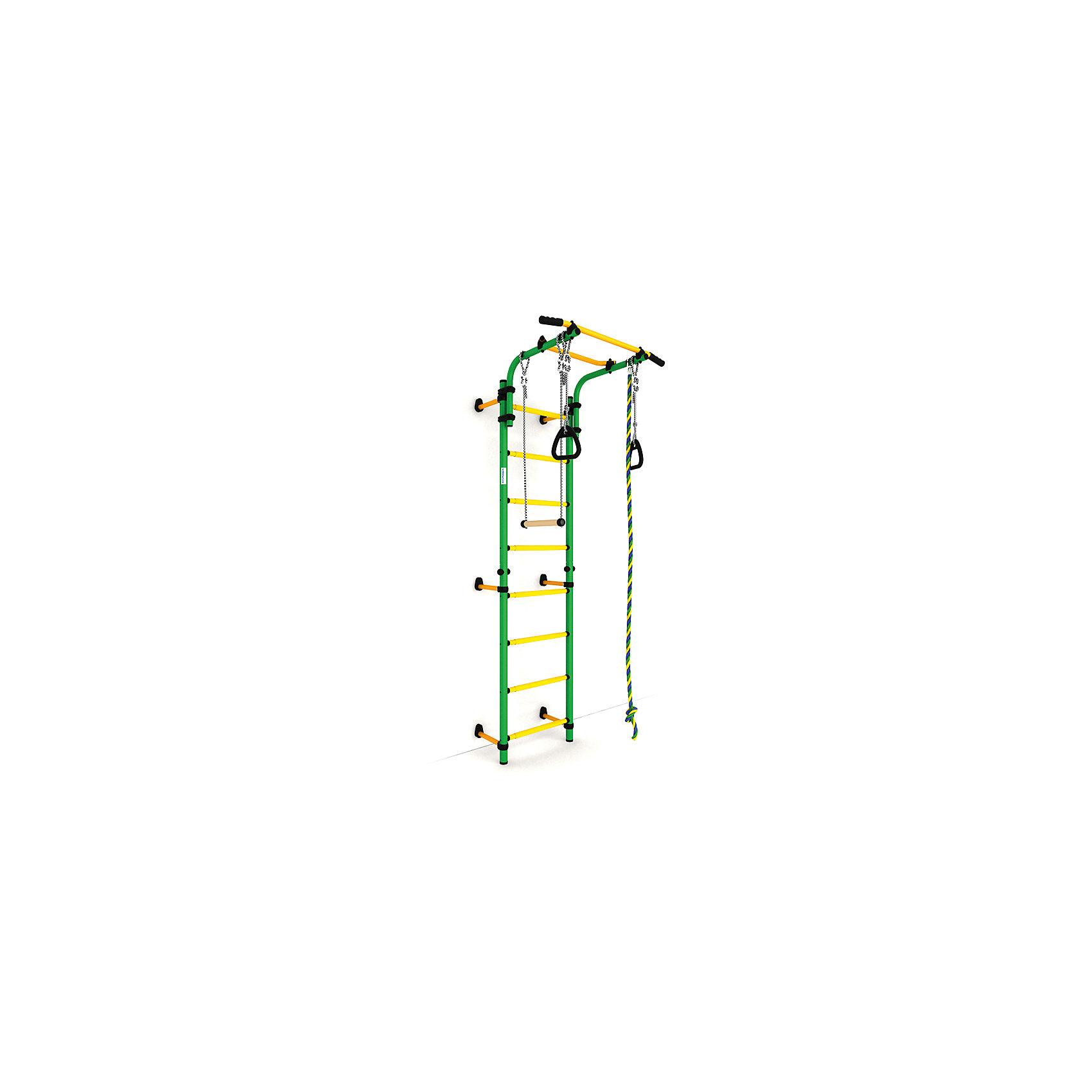 Комета NEXT-1 (490 мм), ROMANA, зеленый-желтыйКомета NEXT-1 (490 мм), ROMANA, зеленый-желтый.<br><br>Характеристики:<br><br>• Цвет: зеленый, желтый<br>• Высота: 2,27<br>• Ширина ступени: 490 мм<br>• Допустимый вес: 100кг<br>• Габариты: 86х82 см<br>• Материал: металл<br><br>Удобный и безопасный спортивный комплекс крепится враспор, что позволяет сохранить потолки и стены от сверления. В комплекте подвижный турник, спортивная трапеция, прочный канат, шведская стенка и гимнастические кольца. Выполнено все из качественного и прочного металла. Турник регулируется по высоте. Перекладины с анти-скользящим покрытием, ступени не охлаждаются и имеют массажное покрытие.<br><br>Комета NEXT-1 (490 мм), ROMANA, зеленый-желтый можно купить в нашем интернет-магазине.<br><br>Ширина мм: 1160<br>Глубина мм: 610<br>Высота мм: 140<br>Вес г: 25000<br>Возраст от месяцев: 36<br>Возраст до месяцев: 192<br>Пол: Унисекс<br>Возраст: Детский<br>SKU: 4993370