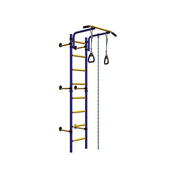 Шведская стенка Комета NEXT-1 (410 мм), ROMANA, синий-желтыйШведские стенки<br>Комета NEXT-1 (410 мм), ROMANA, синий-желтый<br><br>Характеристики:<br><br>• Цвет: синий, желтый<br>• Высота: 2,27<br>• Ширина ступени: 490 мм<br>• Допустимый вес: 100кг<br>• Габариты: 86х82 см<br>• Материал: металл<br><br>Удобный и безопасный спортивный комплекс крепится враспор, что позволяет сохранить потолки и стены от сверления. В комплекте подвижный турник, спортивная трапеция, прочный канат, шведская стенка и гимнастические кольца. Выполнено все из качественного и прочного металла. Турник регулируется по высоте. Перекладины с анти-скользящим покрытием, ступени не охлаждаются и имеют массажное покрытие.<br><br>Комета NEXT-1 (410 мм), ROMANA, синий-желтый можно купить в нашем интернет-магазине.<br><br>Ширина мм: 1160<br>Глубина мм: 535<br>Высота мм: 140<br>Вес г: 22000<br>Возраст от месяцев: 36<br>Возраст до месяцев: 192<br>Пол: Унисекс<br>Возраст: Детский<br>SKU: 4993372