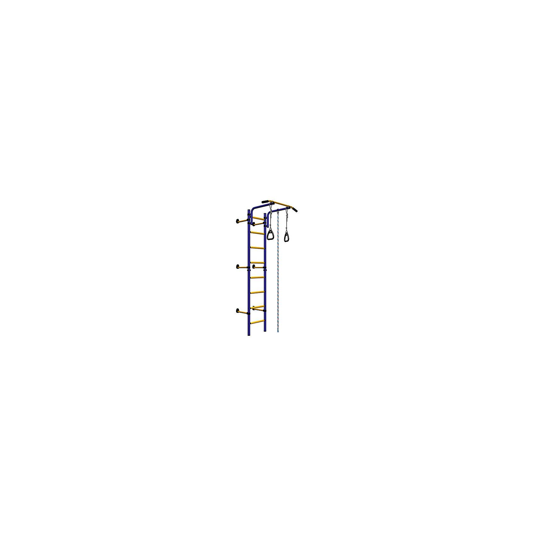 Комета NEXT-1 (410 мм), ROMANA, синий-желтыйШведская стенка с креплением в распор – классический вариант домашних спортивных занятий. На шведской стенке можно выполнять огромное количество всевозможных упражнений на все группы мышц. Ширина стенки – 490 мм. Регулируемый по высоте турник. Крепление не требует сверления стены. В комплекте есть подвижный турник, кольца, канат и спортивная трапеция.  Комплекс легко очищается от загрязнений и не теряет презентабельного внешнего вида от частых занятий. Материалы, использованные при изготовлении изделия, абсолютно безопасны для детей и отвечают всем международным требованиям по качеству. <br><br>Дополнительная информация: <br><br>высота: 2,27 м;<br>цвет: синий – желтый;<br>вес допустимый: 100 кг;<br>габариты: 86 х 82 см;<br>материал: металл.<br><br>Шведскую стенку «Комета NEXT-1 (410 мм)» от компании ROMANA можно приобрести в нашем магазине.<br><br>Ширина мм: 1160<br>Глубина мм: 535<br>Высота мм: 140<br>Вес г: 22000<br>Возраст от месяцев: 36<br>Возраст до месяцев: 192<br>Пол: Унисекс<br>Возраст: Детский<br>SKU: 4993372