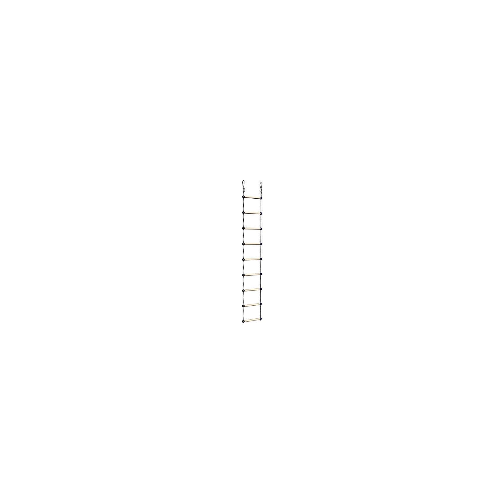 Лестница веревочная, ROMANAЛестница веревочная, ROMANA<br><br>Характеристики:<br><br>• Высота: 230 см<br>• Материал: дерево<br>• Максимальная нагрузка: 50 кг<br><br>Веревочная лестница послужит отличным дополнением к детскому спортивному комплексу. Благодаря крепким материалам и надежному креплению ребенок не получит травму и использование лестницы будет полностью безопасным. Такая лестница подходит к другим модулям из этой серии. Несмотря на то, что лестница «веревочная», она имеет достаточно устойчивые ступеньки.<br><br>Лестницу веревочную, ROMANA можно купить в нашем интернет-магазине.<br><br>Ширина мм: 380<br>Глубина мм: 300<br>Высота мм: 50<br>Вес г: 2000<br>Возраст от месяцев: 36<br>Возраст до месяцев: 192<br>Пол: Унисекс<br>Возраст: Детский<br>SKU: 4993388
