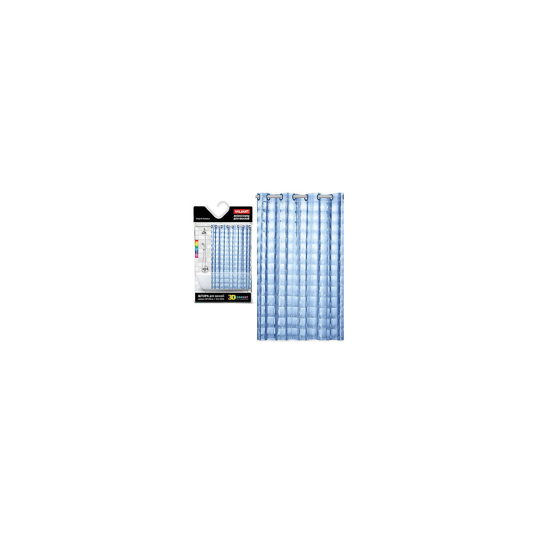 VALIANT Штора для ванной, EVA, 180*180 см, CUBE MIRROR, Valiant