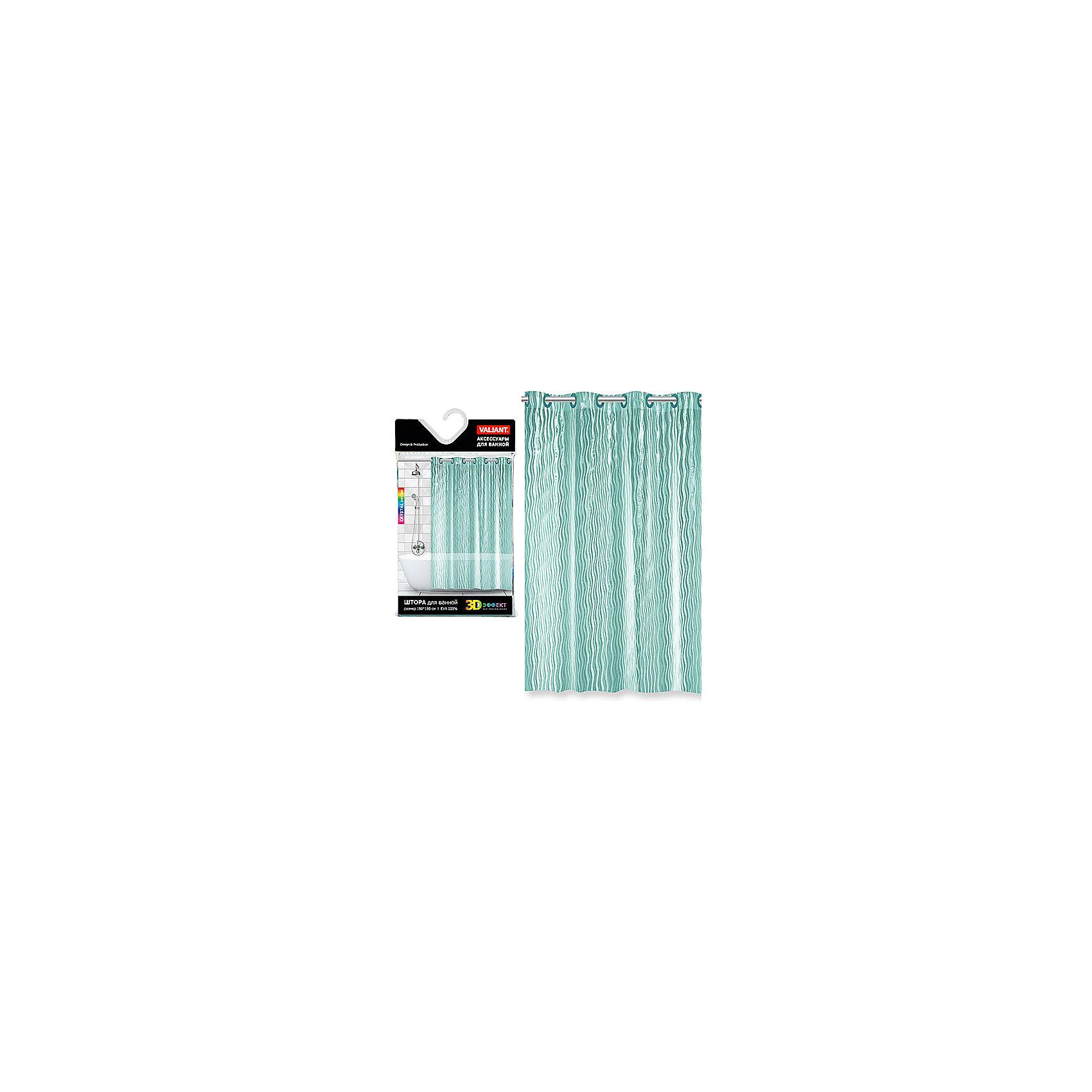 Штора для ванной, EVA, 180*180 см, WATER LINE, ValiantВанная комната<br>Штора для ванной, EVA, 180*180 см, WATER LINE, Valiant (Валиант) - эта уникальная полупрозрачная штора украсит интерьер ванной комнаты.<br>Роскошная штора с изящными струящимися переливами тонких линий WATER LINE от Valiant (Валиант) с завораживающим кристаллическим эффектом (3D-эффектом) способна преобразить ванную комнату. Штора легко крепится на специальных раздвижных люверсах. Высококачественный полимерный материал обладает повышенными водоотталкивающими свойствами, устойчив к воздействию, света и влаги, приятен на ощупь.<br><br>Дополнительная информация:<br><br>- Размер: 180х180 см.<br>- Материал: EVA<br>- 10 больших люверсов<br>- Водоотталкивающие свойства: 100%<br>- Рекомендации по уходу: для удаления мыльного налёта просто протрите штору мягкой влажной губкой. Для чистки сильных загрязнений применяйте мягкие моющие средства. Не рекомендуется использовать растворяющие моющие средства<br><br>Штору для ванной, EVA, 180*180 см, WATER LINE, Valiant (Валиант) можно купить в нашем интернет-магазине.<br><br>Ширина мм: 200<br>Глубина мм: 30<br>Высота мм: 350<br>Вес г: 579<br>Возраст от месяцев: 36<br>Возраст до месяцев: 216<br>Пол: Унисекс<br>Возраст: Детский<br>SKU: 4993396