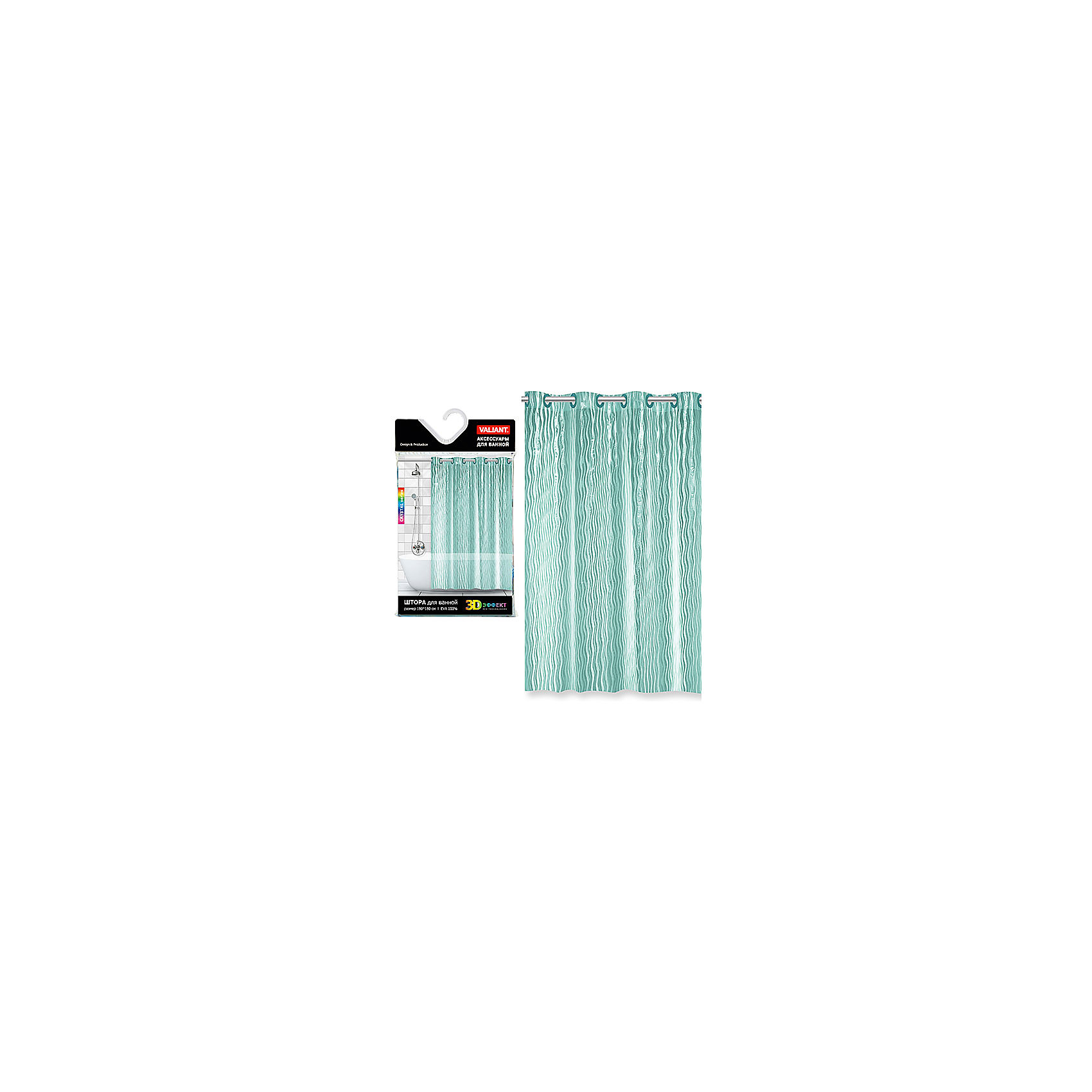 VALIANT Штора для ванной, EVA, 180*180 см, WATER LINE, Valiant