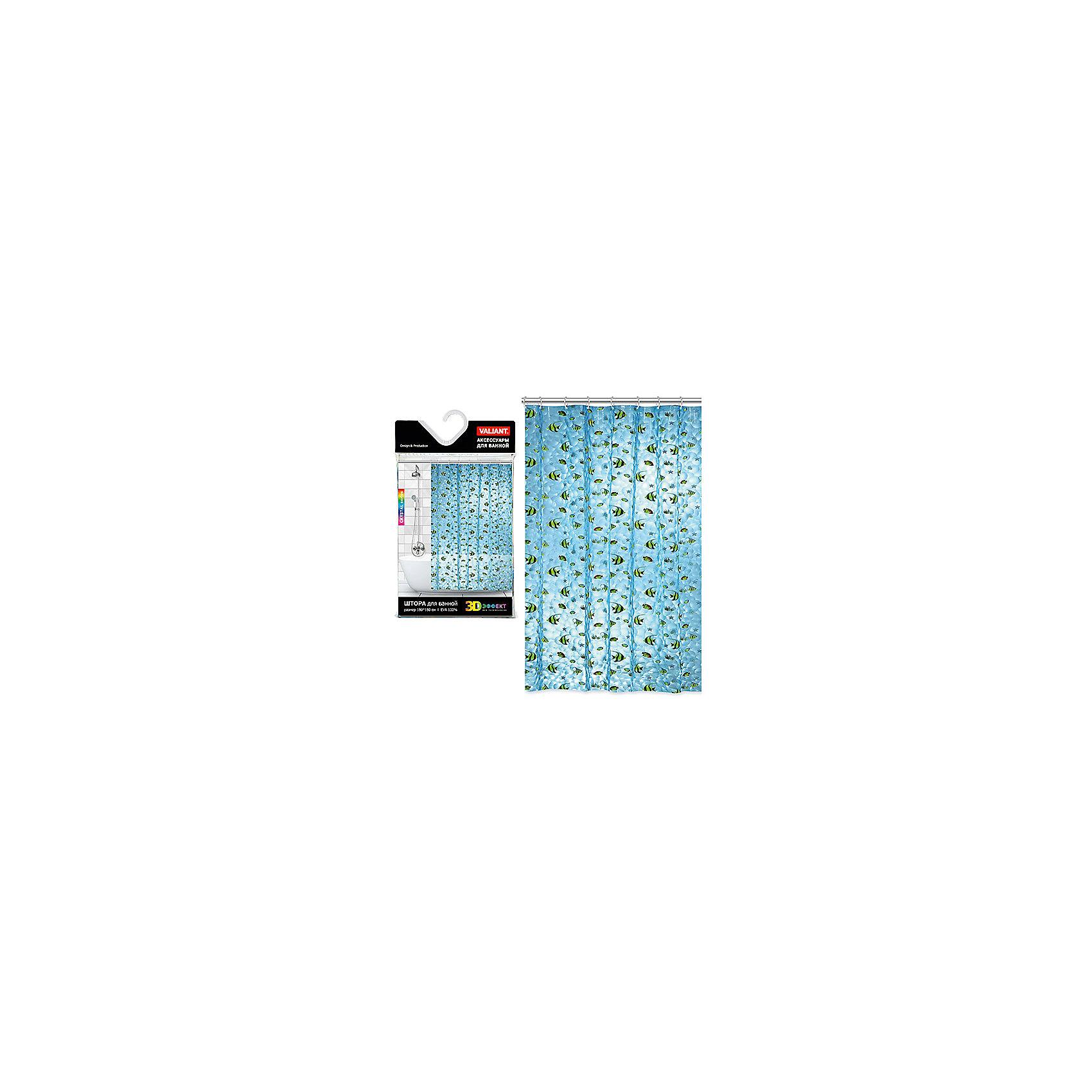 Штора для ванной, PEVA, 180*180 см, AQUARIUM, ValiantВанная комната<br>Штора для ванной, PEVA, 180*180 см, AQUARIUM, Valiant (Валиант) - эта уникальная полупрозрачная штора украсит интерьер ванной комнаты.<br>Яркая штора AQUARIUM от Valiant (Валиант) с завораживающим кристаллическим эффектом (3D-эффектом) способна преобразить ванную комнату. Она создает ощущения присутствия в большом аквариуме, в котором плавают маленькие рыбки. Благодаря 3D-эффекту штора переливается как морская вода, создавая ощущения отдыха у теплого моря. Штора легко крепится на прозрачные пластиковые кольца. Высококачественный полимерный материал обладает повышенными водоотталкивающими свойствами, устойчив к воздействию, света и влаги, приятен на ощупь. Края отверстий для подвеса выполнены из пластика, что идеально для влажной среды ванной комнаты.<br><br>Дополнительная информация:<br><br>- В комплекте: штора, 12 колец<br>- Размер: 180х180 см.<br>- Материал: PEVA<br>- Водоотталкивающие свойства: 100%<br>- Рекомендации по уходу: для удаления мыльного налёта просто протрите штору мягкой влажной губкой. Для чистки сильных загрязнений применяйте мягкие моющие средства. Не рекомендуется использовать растворяющие моющие средства<br><br>Штору для ванной, PEVA, 180*180 см, AQUARIUM, Valiant (Валиант) можно купить в нашем интернет-магазине.<br><br>Ширина мм: 200<br>Глубина мм: 30<br>Высота мм: 350<br>Вес г: 445<br>Возраст от месяцев: 36<br>Возраст до месяцев: 216<br>Пол: Унисекс<br>Возраст: Детский<br>SKU: 4993398