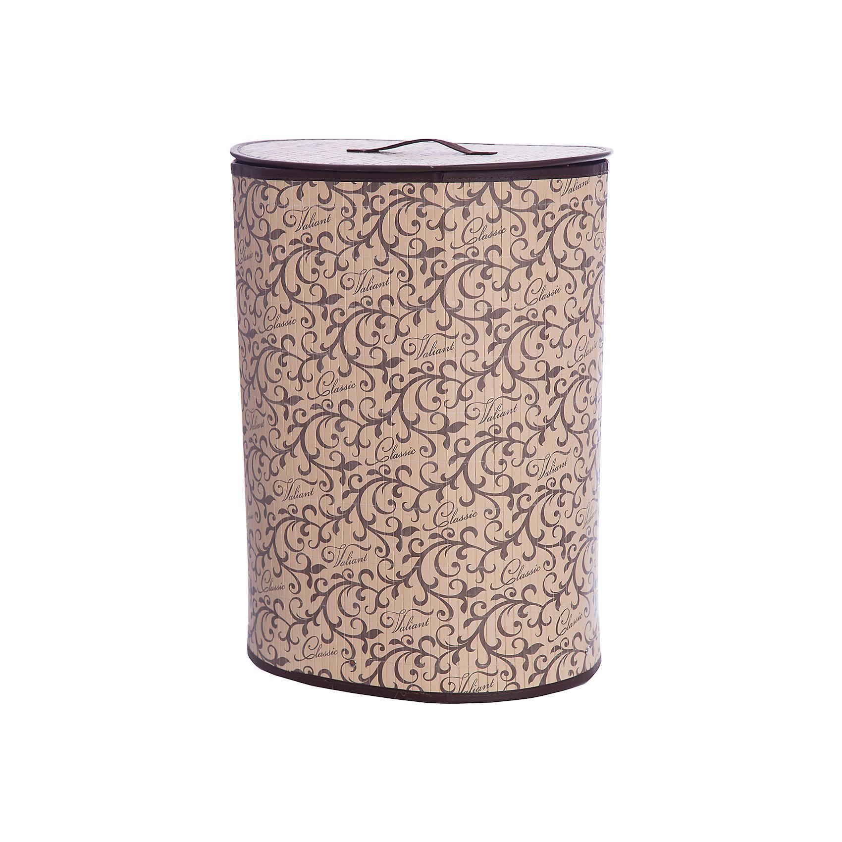 Корзина для белья с крышкой, 30*40*55 см, CLASSIC, ValiantВанная комната<br>Корзина для белья с крышкой, 30*40*55 см, CLASSIC, Valiant (Валиант) – это удобный аксессуар, обеспечивающий эстетичное хранение вещей.<br>Складная корзина для белья с крышкой CLASSIC от Valiant (Валиант) изготовлена из обработанного натурального бамбука и текстиля, хорошо держит форму благодаря металлическому каркасу. Корзина очень удобна и практична. Она идеально подойдет для сбора и хранения вещей перед стиркой, легкая крышка позволяет скрыть содержимое корзины. Каркасная конструкция обеспечивает легкость складывания и раскладывания. Внутренний чехол можно стирать в машинке при температуре 40°С. Натуральные материалы делают корзину экологичным и безопасным аксессуаром для дома. Изысканный дизайн изделия придется по вкусу ценителям классического стиля. Специально для CLASSIC Collection дизайнеры Valiant (Валиант) разработали фирменный классический вензель. Изысканный узор, гармония изящных линий и благородное сочетание цветов составляет основу элегантного дизайна CLASSIC Collection.  Корзина для белья Classic от Valiant (Валиант) гармонично вписывается в современный классический интерьер и станет незаменимым аксессуаром.<br><br>Дополнительная информация:<br><br>- Размер: 30х40х55 см.<br>- Материал: бамбук, текстиль, металл<br>- Цвет: коричневый, бежевый<br><br>Корзину для белья с крышкой, 30*40*55 см, CLASSIC, Valiant (Валиант) можно купить в нашем интернет-магазине.<br><br>Ширина мм: 350<br>Глубина мм: 50<br>Высота мм: 620<br>Вес г: 1499<br>Возраст от месяцев: 36<br>Возраст до месяцев: 1080<br>Пол: Унисекс<br>Возраст: Детский<br>SKU: 4993403