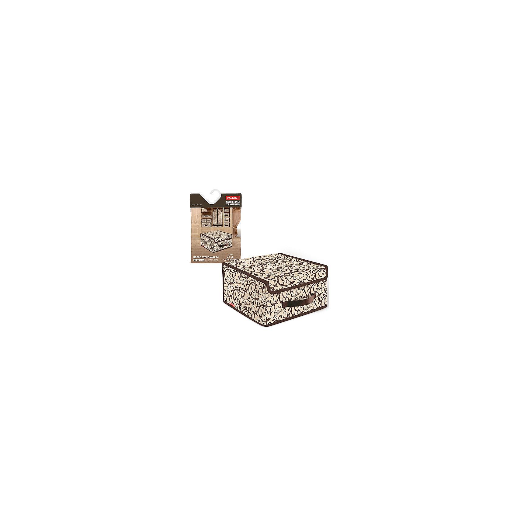 Короб стеллажный с крышкой, малый, 28*30*16 см, CLASSIC, ValiantКороб стеллажный с крышкой, малый, 28*30*16 см, CLASSIC, Valiant (Валиант) – это идеальное решение для хранения белья и мелких вещей.<br>Стеллажный короб CLASSIC от Valiant (Валиант) поможет организовать пространство на полках, избавит от беспорядка и спрячет вещи от посторонних глаз. Он изготовлен из высококачественного нетканого материала, который обеспечивает естественную вентиляцию, позволяя воздуху проникать внутрь, но не пропускает пыль. Вставки из плотного картона хорошо держат форму. Крышка короба фиксируется с помощью специальных магнитов. Наличие ручки позволяет удобно размещать короб на полке. Изделие отличается мобильностью: легко раскладывается и складывается. Изысканный дизайн изделия придется по вкусу ценителям классического стиля. Специально для CLASSIC Collection дизайнеры Valiant (Валиант) разработали фирменный классический вензель. Изысканный узор, гармония изящных линий и благородное сочетание цветов составляет основу элегантного дизайна CLASSIC Collection. Система хранения Classic от Valiant (Валиант) гармонично вписывается в современный классический гардероб.<br><br>Дополнительная информация:<br><br>- Размер: 28х30х16 см.<br>- Материал: нетканый материал, картон<br>- Цвет: коричневый, бежевый<br><br>Короб стеллажный с крышкой, малый, 28*30*16 см, CLASSIC, Valiant (Валиант) можно купить в нашем интернет-магазине.<br><br>Ширина мм: 300<br>Глубина мм: 25<br>Высота мм: 400<br>Вес г: 435<br>Возраст от месяцев: 36<br>Возраст до месяцев: 1080<br>Пол: Унисекс<br>Возраст: Детский<br>SKU: 4993406