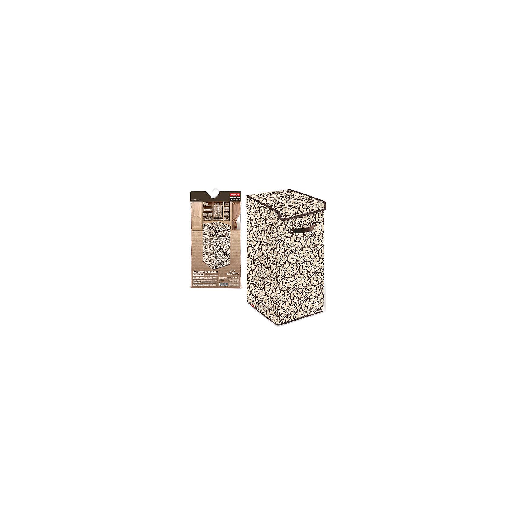 Корзина для белья с крышкой, 35*35*60 см, CLASSIC, ValiantВанная комната<br>Корзина для белья с крышкой, 35*35*60 см, CLASSIC, Valiant (Валиант) – это удобный аксессуар, обеспечивающий эстетичное хранение вещей.<br>Корзина для белья с крышкой CLASSIC от Valiant (Валиант) гармонично смотрится в интерьере гардеробной или ванной комнаты. Она очень удобна и практична. Корзина идеально подойдет для сбора и хранения вещей перед стиркой. Она изготовлена из высококачественного нетканого материала, который обеспечивает естественную вентиляцию, позволяя воздуху проникать внутрь, но не пропускает пыль. Вставки из плотного картона хорошо держат форму. Крышка корзины фиксируется с помощью специальных магнитов. Наличие ручки позволяет легко перемещать корзину. Изделие отличается мобильностью: легко раскладывается и складывается. Изысканный дизайн придется по вкусу ценителям классического стиля. Специально для CLASSIC Collection дизайнеры Valiant (Валиант) разработали фирменный классический вензель. Изысканный узор, гармония изящных линий и благородное сочетание цветов составляет основу элегантного дизайна CLASSIC Collection.<br><br>Дополнительная информация:<br><br>- Размер: 35х35х60 см.<br>- Материал: нетканый материал, картон<br>- Цвет: коричневый, бежевый<br><br>Корзину для белья с крышкой, 35*35*60 см, CLASSIC, Valiant (Валиант) можно купить в нашем интернет-магазине.<br><br>Ширина мм: 350<br>Глубина мм: 25<br>Высота мм: 710<br>Вес г: 1525<br>Возраст от месяцев: 36<br>Возраст до месяцев: 1080<br>Пол: Унисекс<br>Возраст: Детский<br>SKU: 4993407