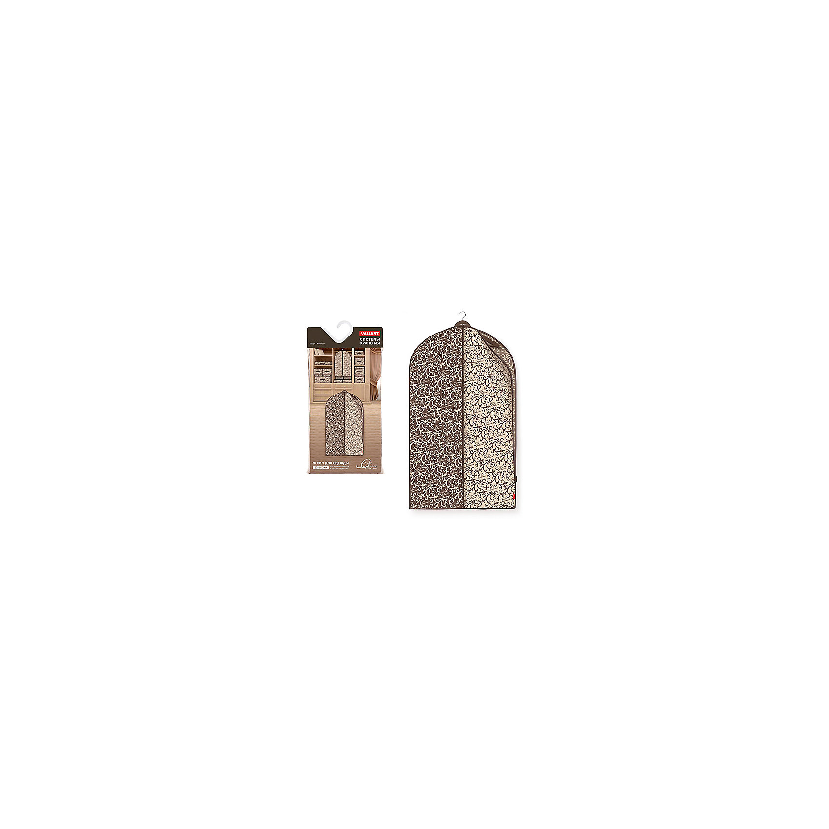 Чехол для одежды с боковой молнией, малый, 60*100 см, CLASSIC, ValiantПорядок в детской<br>Чехол для одежды с боковой молнией, малый, 60*100 см, CLASSIC, Valiant (Валиант) – это эстетичное решение для хранения одежды.<br>Чехол для одежды CLASSIC от Valiant (Валиант) разработан специально для хранения короткой верхней одежды: шуб, дубленок, пуховиков, пальто, плащей, костюмов и платьев. Он изготовлен из высококачественного нетканого материала, который обеспечивает естественную вентиляцию, позволяя воздуху проникать внутрь, но не пропускает пыль. Чехол предотвращает сминания вещей. Чехол с боковой застежкой-молнией легко открывается и закрывается. Идеально подойдет для транспортировки и хранения одежды. Изысканный дизайн чехла придется по вкусу ценителям классического стиля. Специально для CLASSIC Collection дизайнеры Valiant (Валиант) разработали фирменный классический вензель. Изысканный узор, гармония изящных линий, благородное сочетание цветов составляет основу элегантного дизайна CLASSIC Collection. Чехол для одежды CLASSIC от Valiant (Валиант) гармонично вписывается в современный классический гардероб.<br><br>Дополнительная информация:<br><br>- Размер: 60х100 см.<br>- Материал: нетканый материал<br>- Цвет: коричневый, бежевый<br><br>Чехол для одежды с боковой молнией, малый, 60*100 см, CLASSIC, Valiant (Валиант) можно купить в нашем интернет-магазине.<br><br>Ширина мм: 205<br>Глубина мм: 20<br>Высота мм: 430<br>Вес г: 189<br>Возраст от месяцев: 36<br>Возраст до месяцев: 1080<br>Пол: Унисекс<br>Возраст: Детский<br>SKU: 4993408