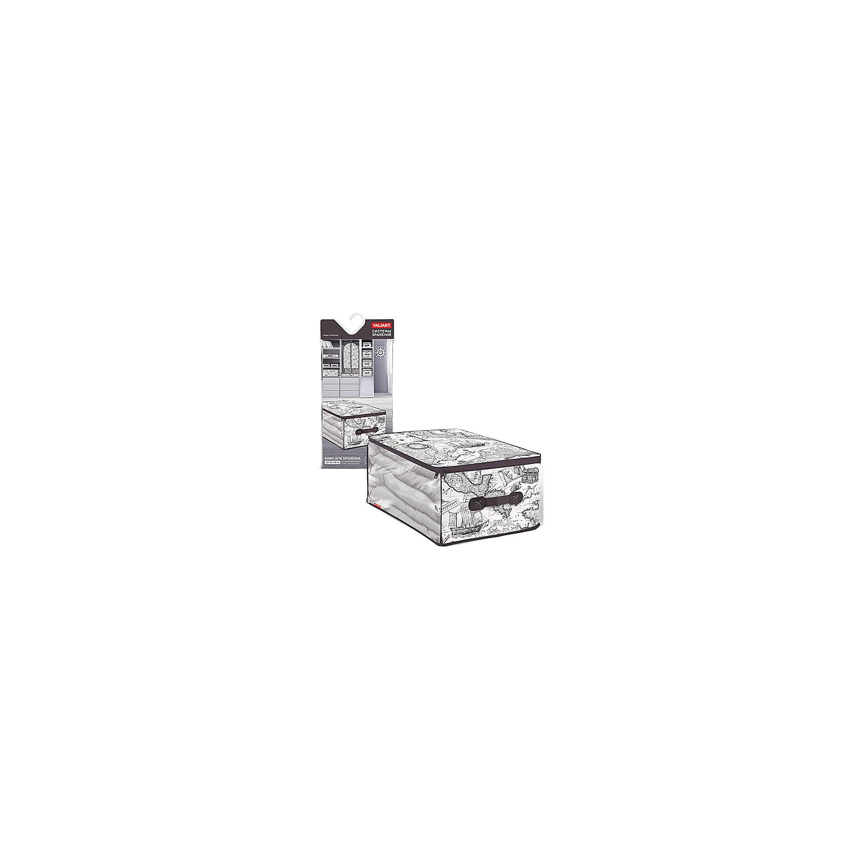 Кофр для хранения, малый, 35*30*20 см, EXPEDITION, ValiantКофр для хранения, малый, 35*30*20 см, EXPEDITION, Valiant (Валиант) – это идеальное решение для хранения вещей.<br>Мягкий кофр для хранения EXPEDITION от Valiant (Валиант) изготовлен из высококачественного нетканого материала, который обеспечивает естественную вентиляцию, позволяя воздуху проникать внутрь, но не пропускает пыль. Кофр снабжен прозрачной вставкой, что позволяет легко просматривать содержимое. Закрывается на застежку - молнию. В таком кофре удобно хранить  одежду, белье и мелкие аксессуары, а также постельные принадлежности и домашний текстиль. Сбоку имеется ручка. Кофр оформлен стильным и неброским рисунком в виде географической карты, который напомнит Вам о путешествиях. Оригинальный монохромный дизайн погружает в романтическую атмосферу морских экспедиций, дальних странствий и географических открытий. Кофр для хранения EXPEDITION от Valiant (Валиант) станет стильным акцентом в современном гардеробе.<br><br>Дополнительная информация:<br><br>- Размер: 35х30х20 см.<br>- Материал: нетканый материал, ПВХ<br>- Цвет: коричневый<br><br>Кофр для хранения, малый, 35*30*20 см, EXPEDITION, Valiant (Валиант) можно купить в нашем интернет-магазине.<br><br>Ширина мм: 170<br>Глубина мм: 25<br>Высота мм: 400<br>Вес г: 125<br>Возраст от месяцев: 36<br>Возраст до месяцев: 1080<br>Пол: Унисекс<br>Возраст: Детский<br>SKU: 4993420