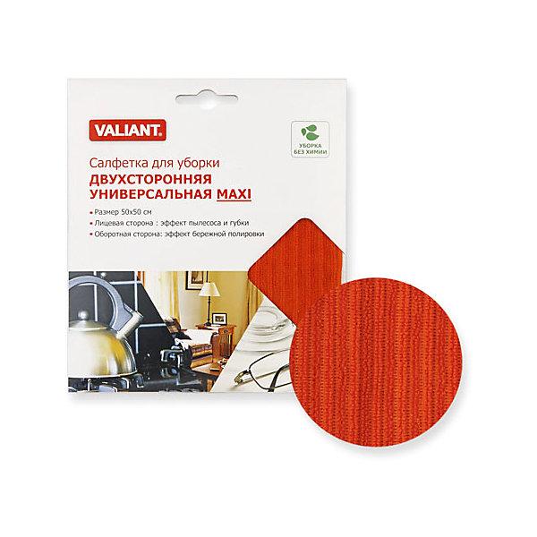 Салфетка для уборки двухсторонняя универсальная MAXI, ValiantБытовая химия<br>Салфетка для уборки двухсторонняя универсальная MAXI, Valiant (Валиант) – бережно и эффективно очищает поверхности, не оставляя разводов и царапин.<br>Универсальная двухсторонняя салфетка MAXI от Valiant (Валиант) предназначена для уборки различных поверхностей. Одна сторона салфетки создает эффект пылесоса и губки. Частицы пыли и грязи притягиваются к салфетке. Вторая сторона салфетки бережно полирует поверхности. Салфетка не оставляет ни царапин, ни разводов на протираемой поверхности. Универсальная двухсторонняя салфетка MAXI от Valiant (Валиант) - это уборка без химии!<br><br>Дополнительная информация:<br><br>- Размер: 50х50 см.<br>- Лицевая сторона: эффект пылесоса и губки<br>- Оборотная сторона: эффект бережной полировки<br>- Материал: микрофибра<br>- Цвет: красный<br>- Уход: ручная и машинная стирка при температуре 90С. Выдерживает более 2000 стирок. Не применяйте отбеливающих и смягчающих средств<br><br>Салфетку для уборки двухстороннюю универсальную MAXI, Valiant (Валиант) можно купить в нашем интернет-магазине.<br>Ширина мм: 260; Глубина мм: 10; Высота мм: 300; Вес г: 190; Возраст от месяцев: 36; Возраст до месяцев: 1080; Пол: Унисекс; Возраст: Детский; SKU: 4993429;