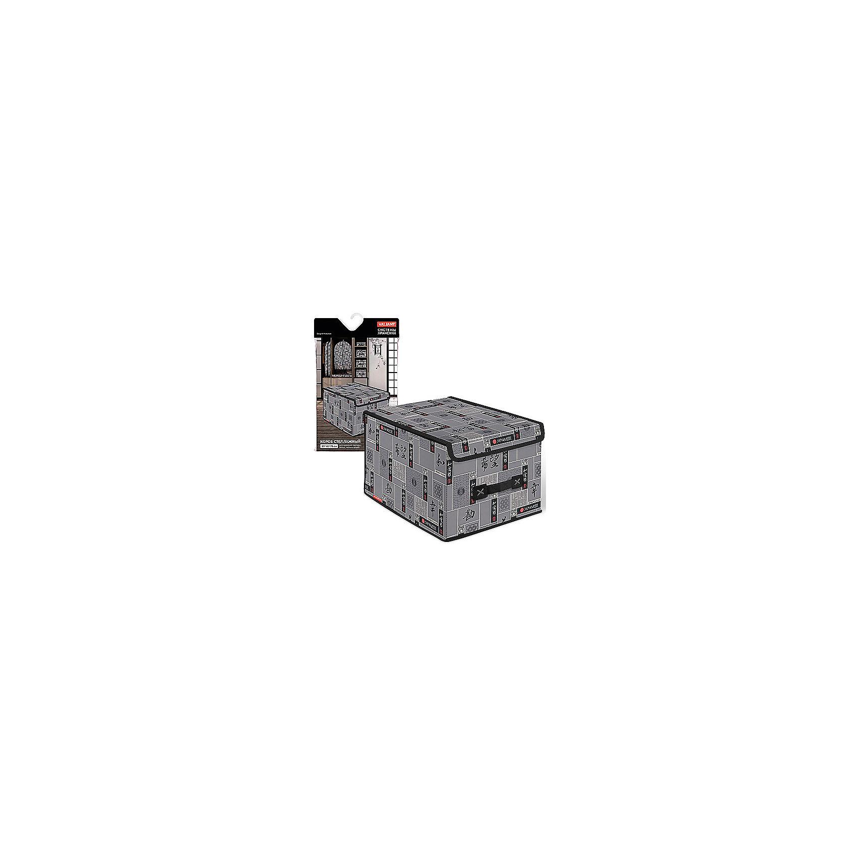 VALIANT Короб стеллажный с крышкой, большой, 30*40*25 см, JAPANESE BLACK, Valiant