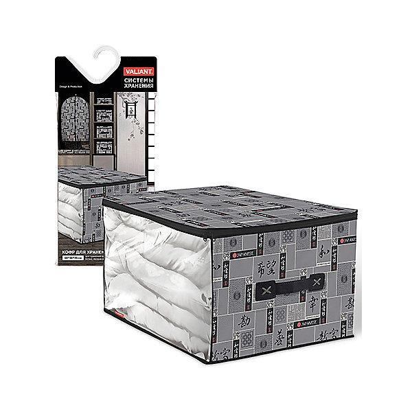 Кофр для хранения, большой, 60*50*35 см, JAPANESE BLACK, ValiantОрганайзеры для одежды<br>Кофр для хранения, большой, 60*50*35 см, JAPANESE BLACK, Valiant (Валиант) – это идеальное решение для хранения вещей.<br>Мягкий кофр для хранения JAPANESE BLACK от Valiant (Валиант) изготовлен из высококачественного нетканого материала, который обеспечивает естественную вентиляцию, позволяя воздуху проникать внутрь, но не пропускает пыль. Кофр снабжен прозрачной вставкой, что позволяет легко просматривать содержимое. Закрывается на застежку - молнию. В таком кофре удобно хранить большие одеяла, пуховики, лыжные костюмы, а также постельные принадлежности и домашний текстиль. Сбоку имеется ручка. Кофр для хранения JAPANESE BLACK от Valiant (Валиант) гармонично смотрится в гардеробе. Лаконичный и сдержанный дизайн, напоминающий характер самурая, разработан специально для тех, кто предпочитает строгие линии и неяркие практичные цвета. В принте использованы японские иероглифы богатство, удача, благодеяние, гармония, мир и согласие.<br><br>Дополнительная информация:<br><br>- Размер: 60х50х35 см.<br>- Материал: нетканый материал, ПВХ<br>- Цвет: серый, черный<br><br>Кофр для хранения, большой, 60*50*35 см, JAPANESE BLACK, Valiant (Валиант) можно купить в нашем интернет-магазине.<br>Ширина мм: 185; Глубина мм: 30; Высота мм: 400; Вес г: 219; Возраст от месяцев: 36; Возраст до месяцев: 1080; Пол: Унисекс; Возраст: Детский; SKU: 4993436;